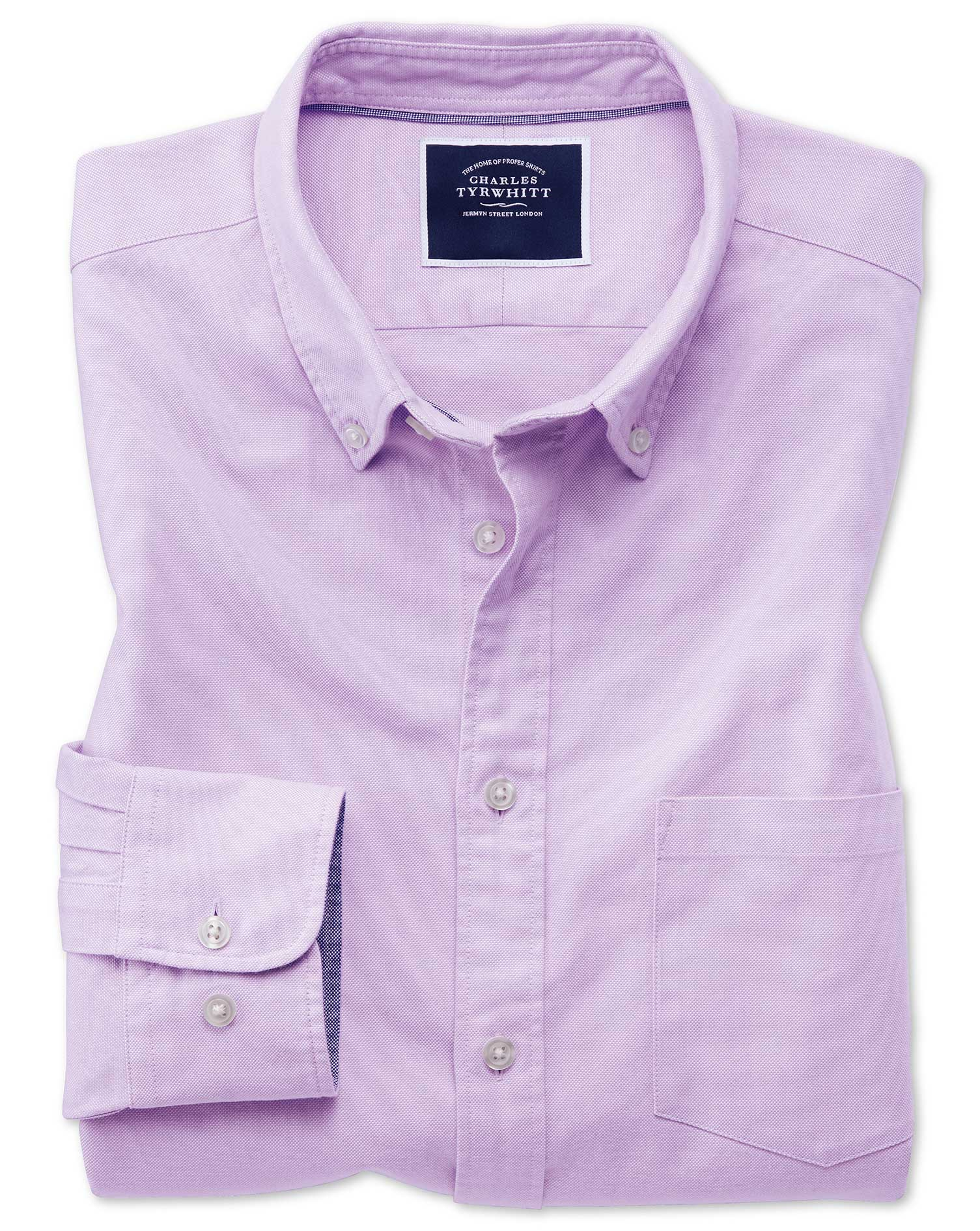 Slim Fit Lilac Plain Button-Down Washed Oxford Cotton Shirt Single Cuff Size Small by Charles Tyrwhi
