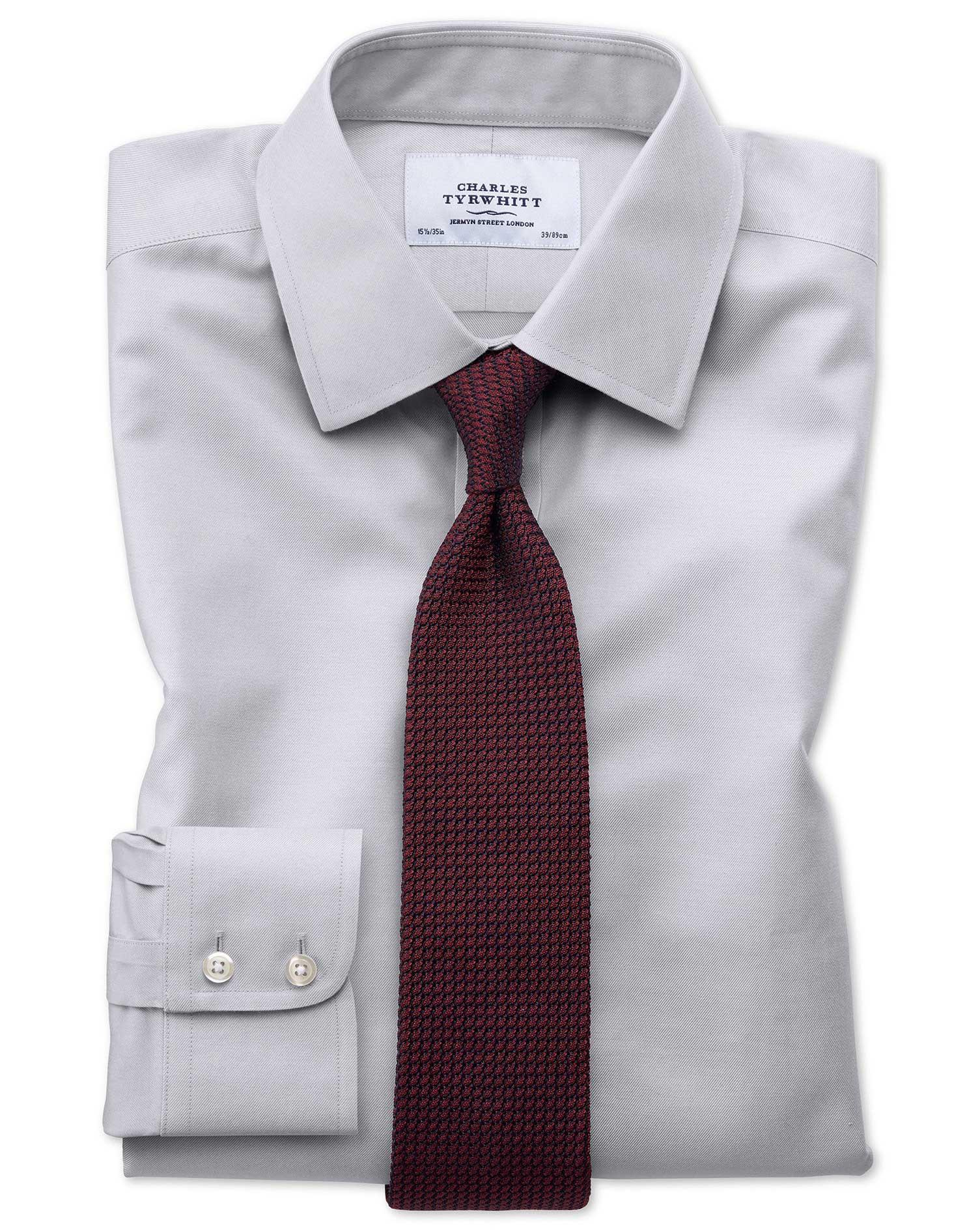 Extra slim fit non iron twill grey shirt charles tyrwhitt for Best extra slim fit dress shirts
