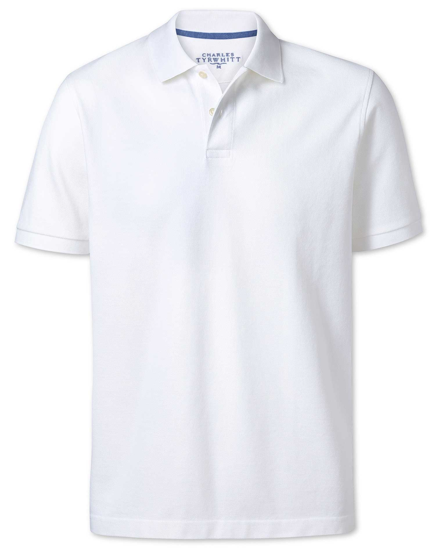 White Pique Cotton Polo Size Small by Charles Tyrwhitt