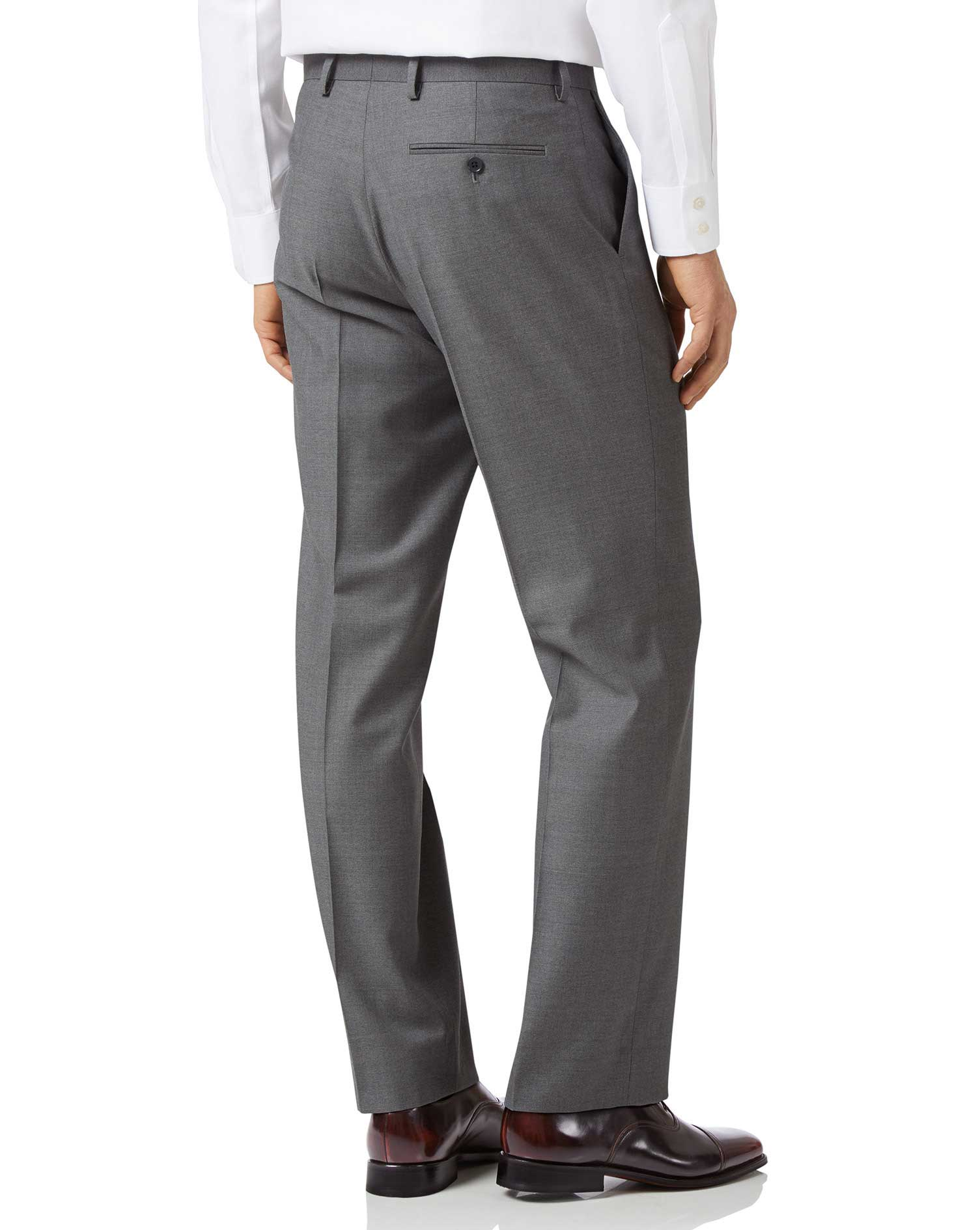 Grey classic fit twill business suit pants