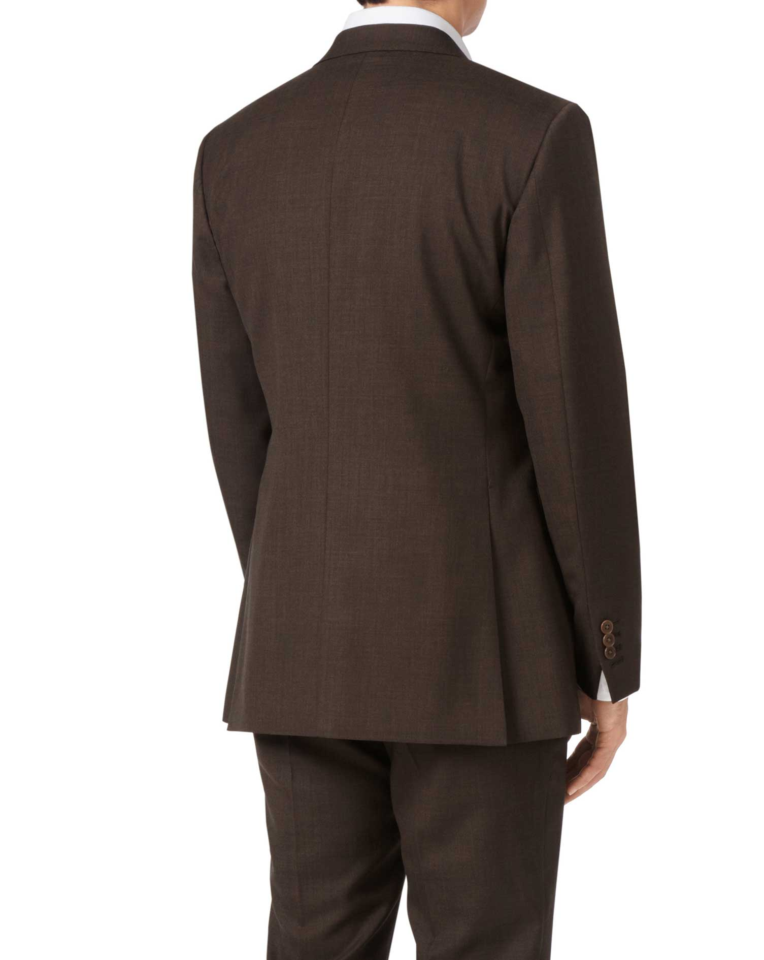 Chocolate slim fit sharkskin travel suit jacket