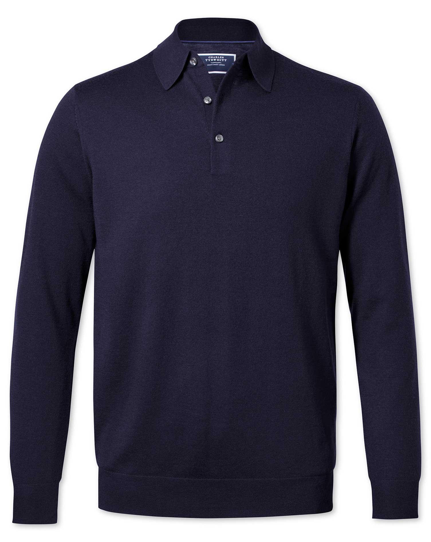 Navy Wool Polo Collar Merino Wool Jumper Size XS by Charles Tyrwhitt