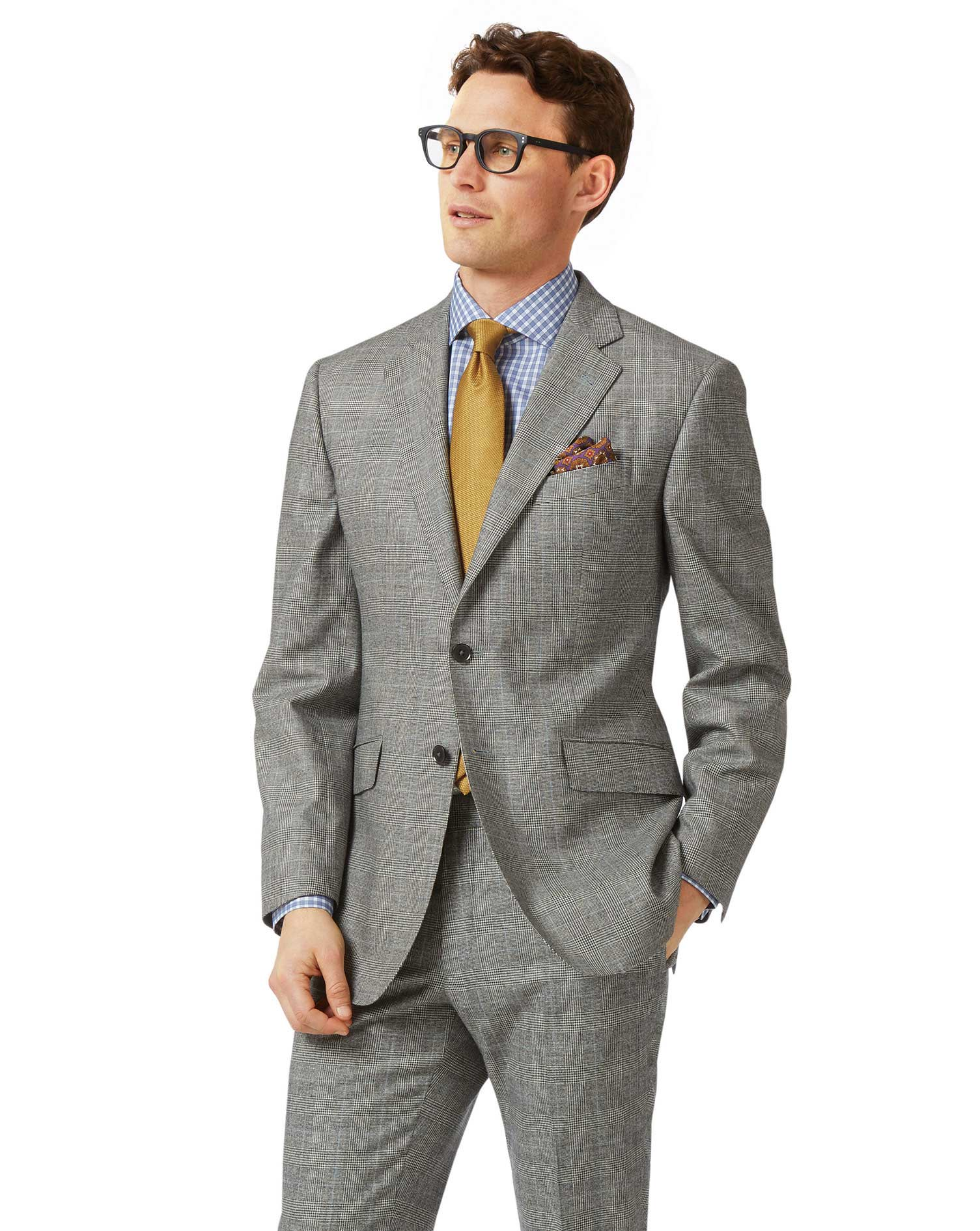Grey Classic Fit Prince Of Wales Check Flannel Business Suit Wool Jacket Size 40 Short by Charles Ty