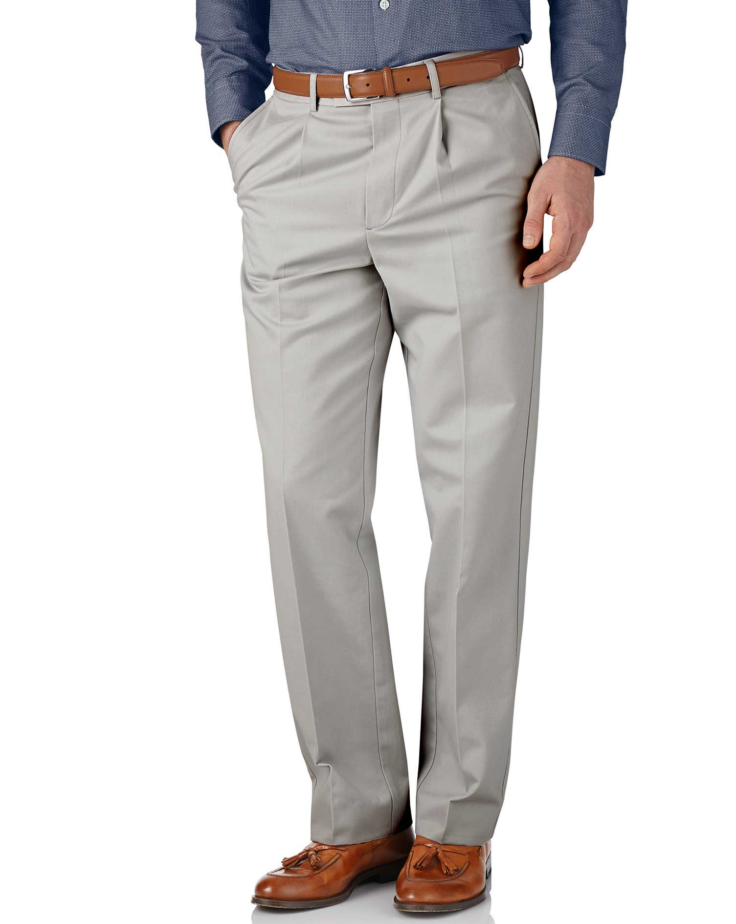 Silver Grey Classic Fit Single Pleat Non-Iron Cotton Chino Trousers Size W38 L34 by Charles Tyrwhitt