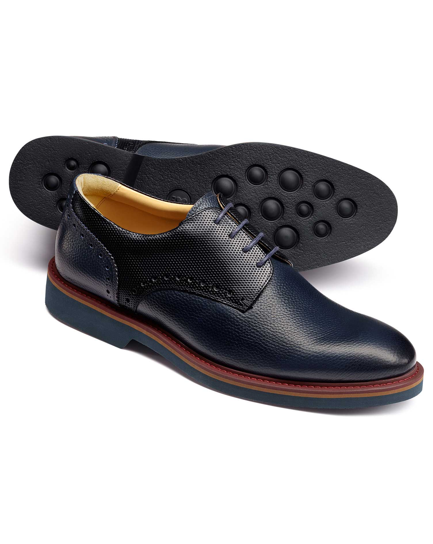 Navy Extra Lightweight Derby Shoes Size 8.5 R by Charles Tyrwhitt