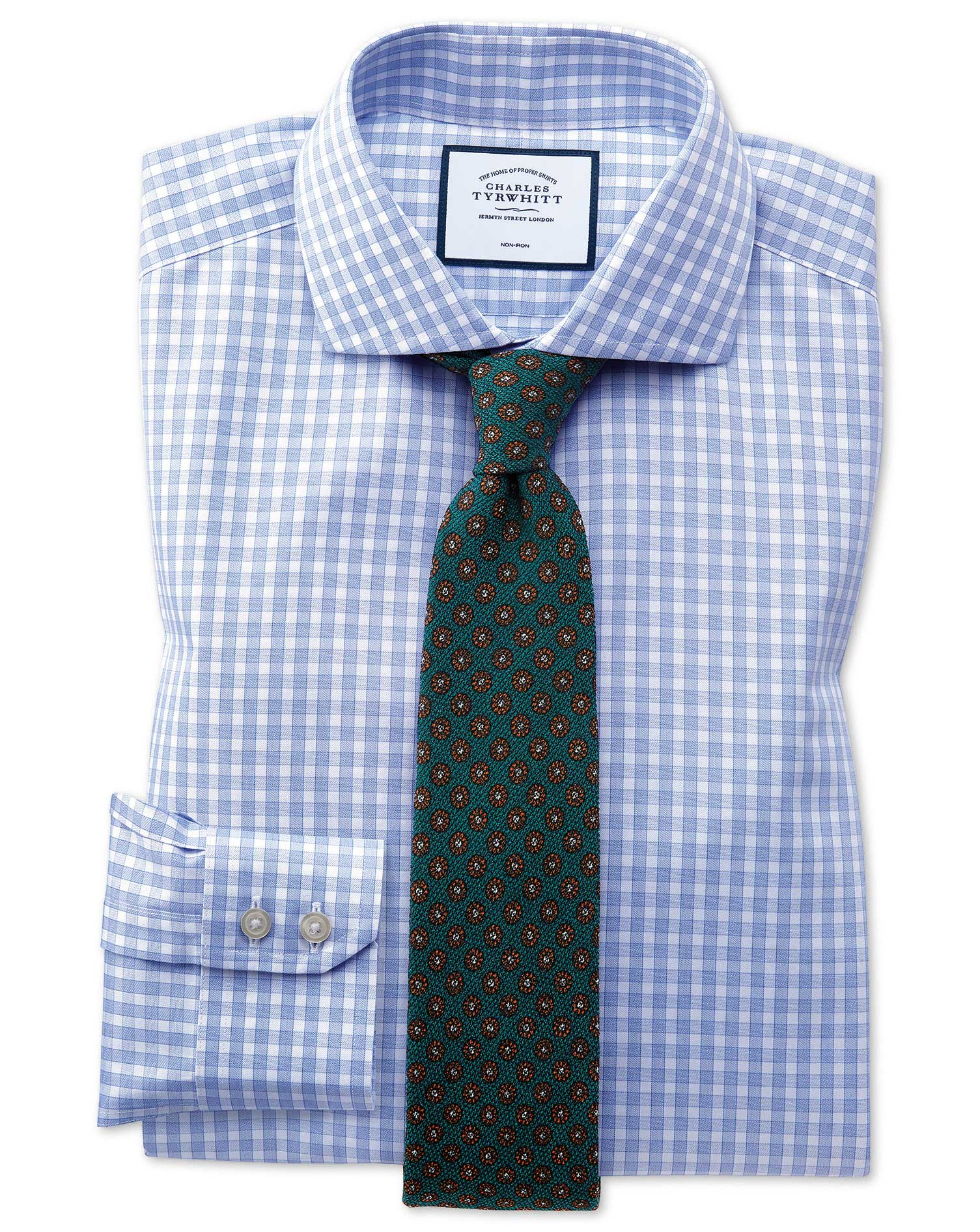 18a637f8 Slim fit non-iron twill gingham sky blue shirt | Charles Tyrwhitt