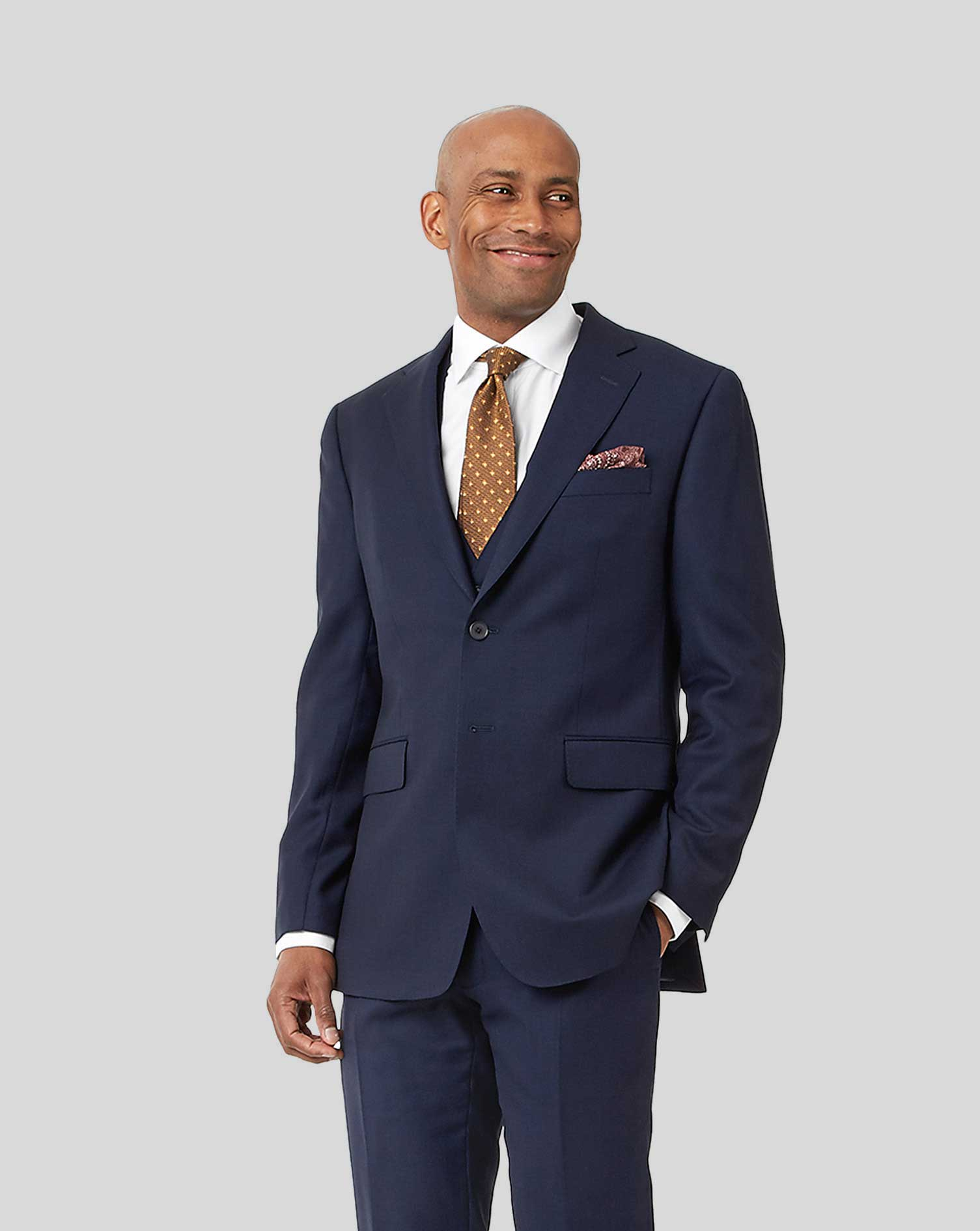 Image of Charles Tyrwhitt Birdseye Travel Suit Wool Jacket - Ink Blue Size 36R Regular by Charles Tyrwhitt