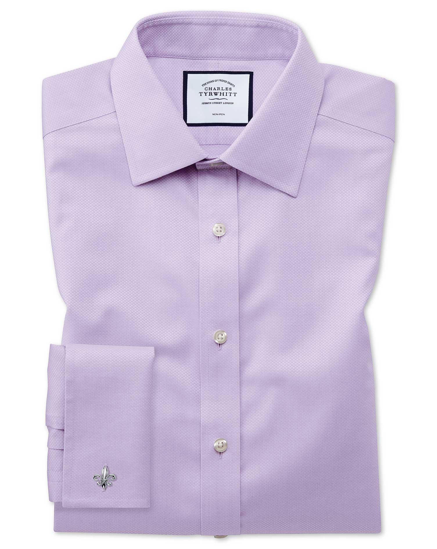 Slim Fit Non-Iron Lilac Triangle Weave Cotton Formal Shirt Single Cuff Size 17/34 by Charles Tyrwhit