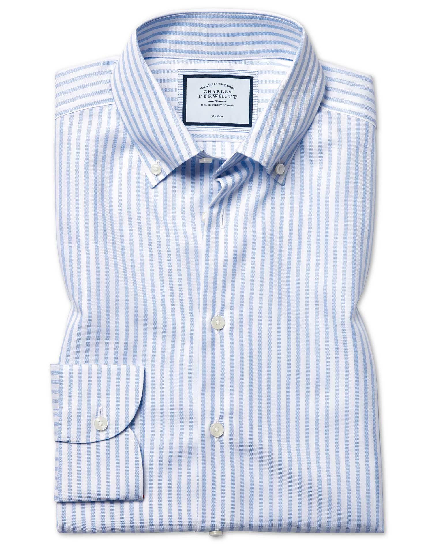 Cotton Tencel Slim Fit Business Casual Non-Iron With Tencel™ Sky Blue Stripe Shirt