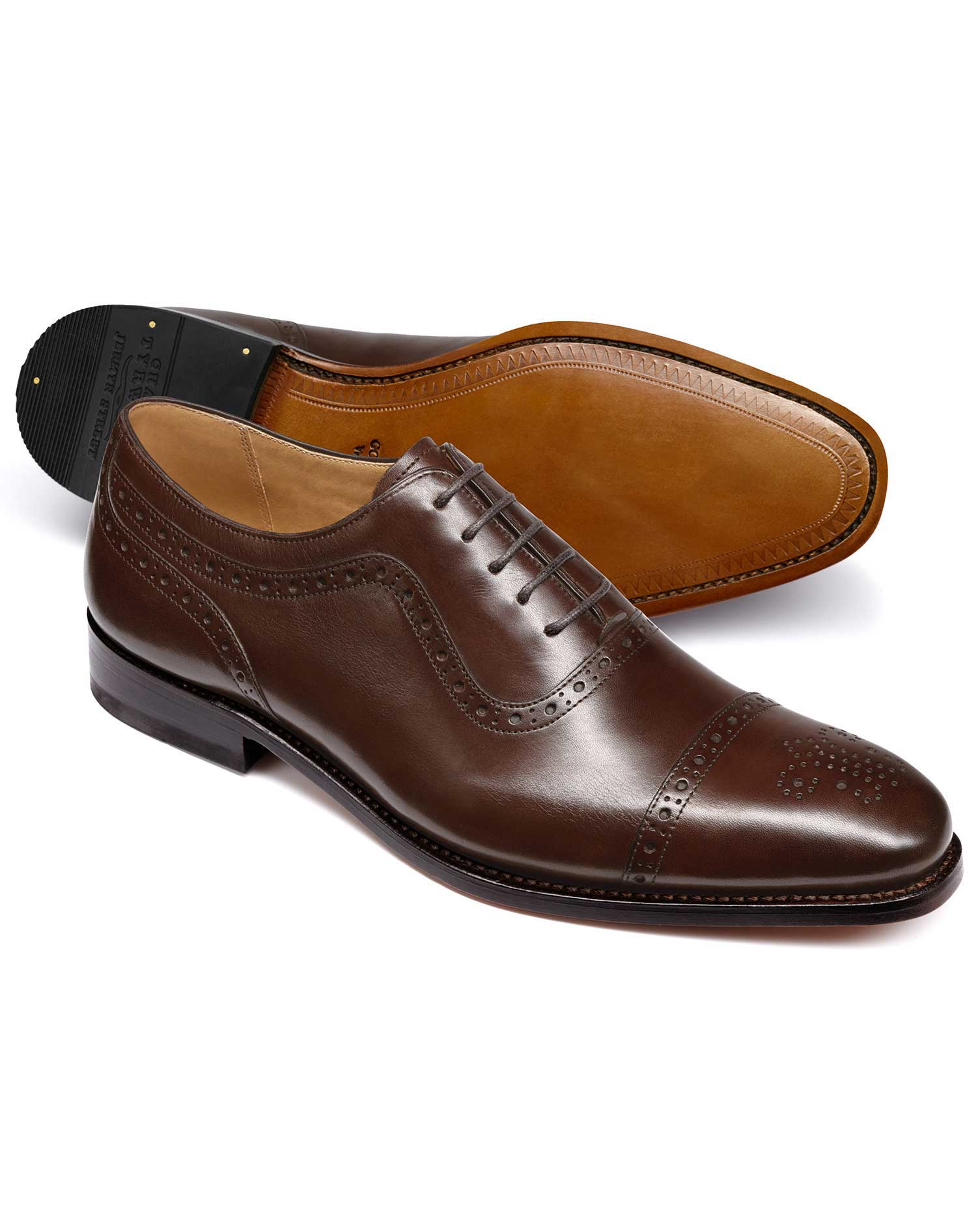 Chocolate Goodyear Welted Oxford Brogue Leather Sole Shoe Size 13 W by Charles Tyrwhitt