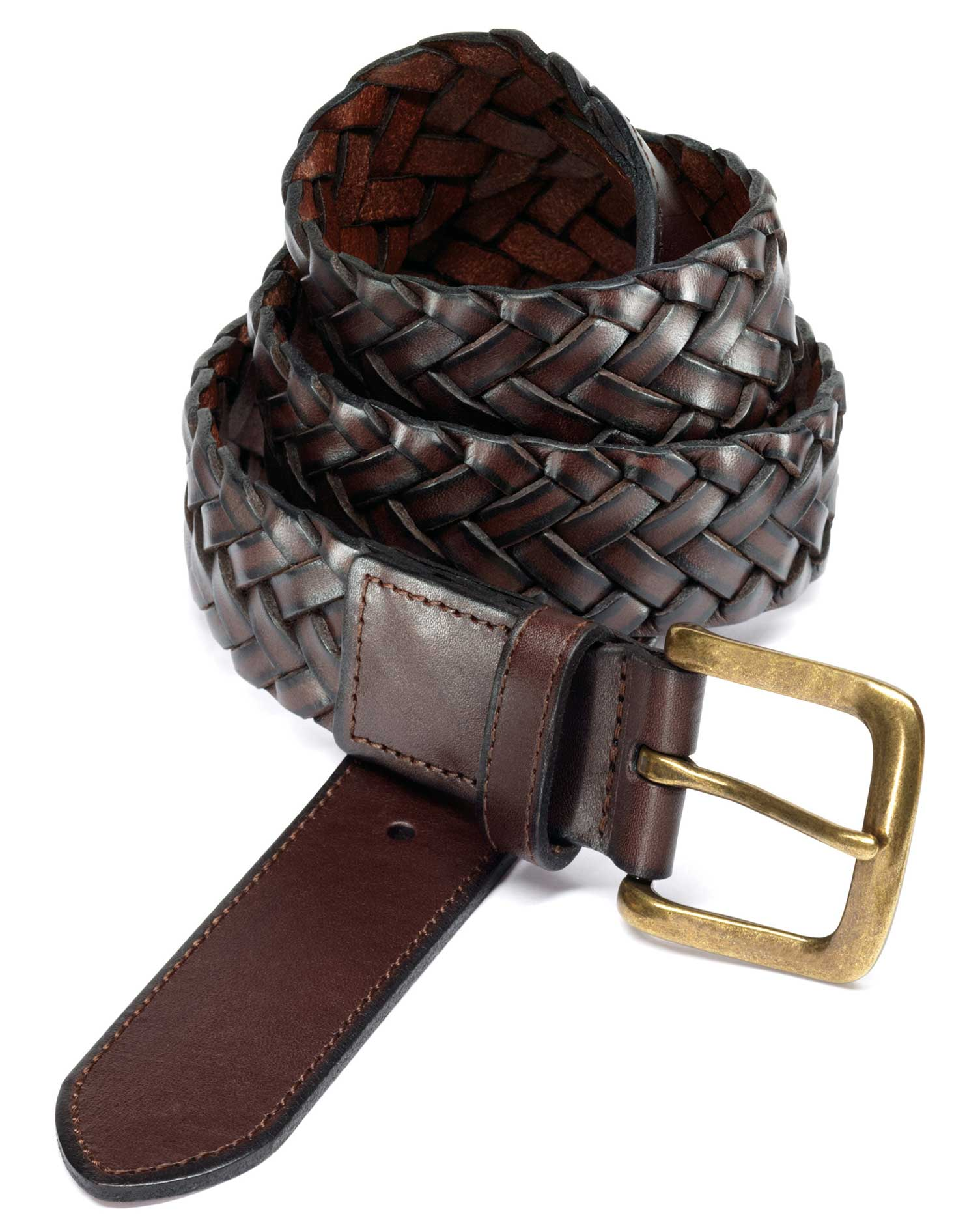 Brown Plait Belt Size 38-40 by Charles Tyrwhitt