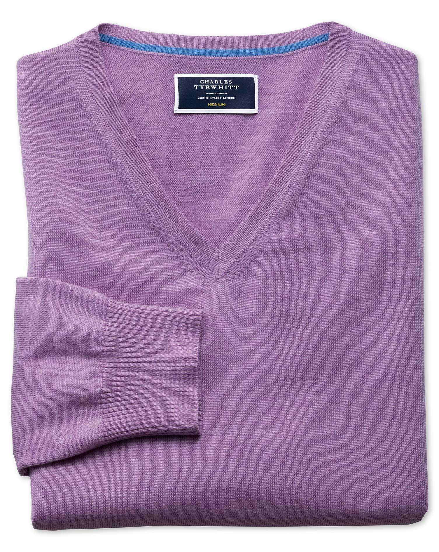 Lilac Merino Wool V-Neck Jumper Size XS by Charles Tyrwhitt