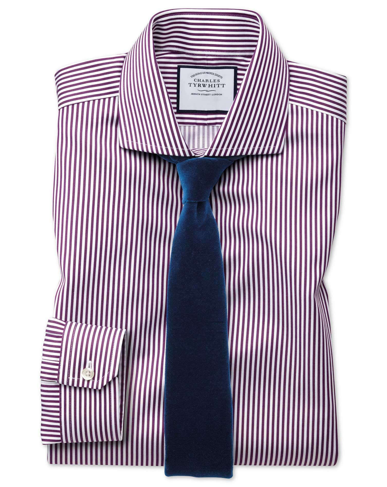 Super Slim Fit Non-Iron Cutaway Collar Berry Twill Stripe Cotton Formal Shirt Single Cuff Size 16.5/