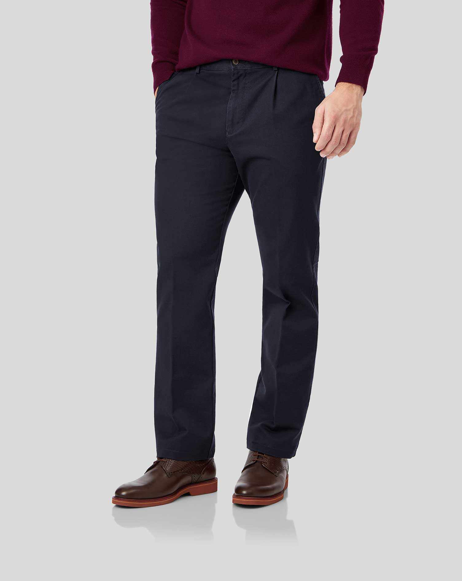 Cotton Navy Flat Front Soft Washed Chinos