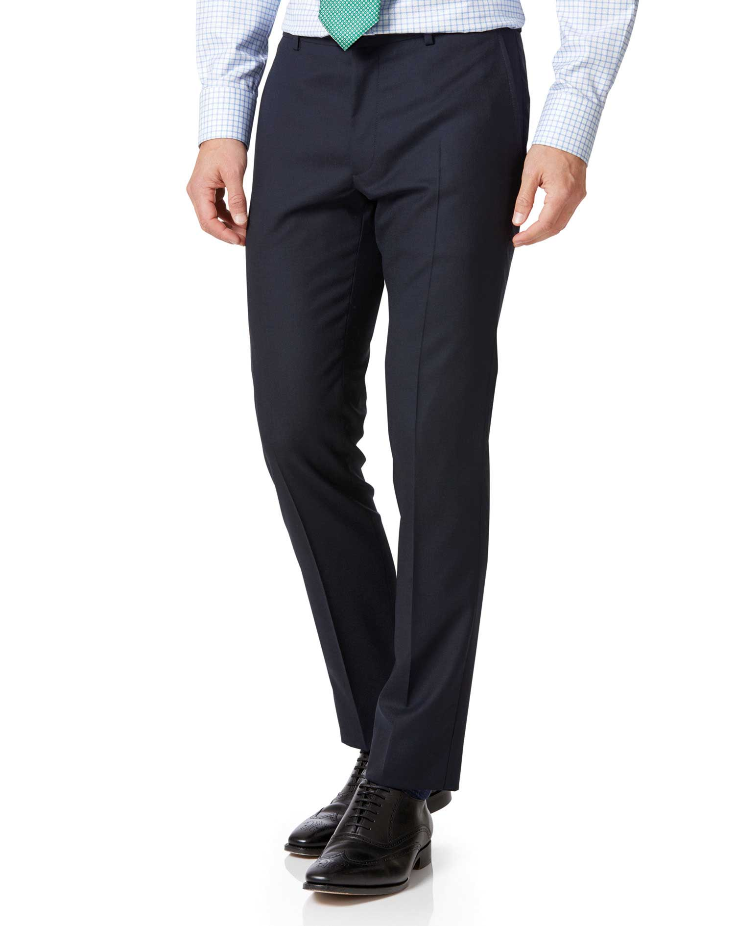 Midnight Blue Extra Slim Fit Merino Business Suit Trousers Size W36 L38 by Charles Tyrwhitt