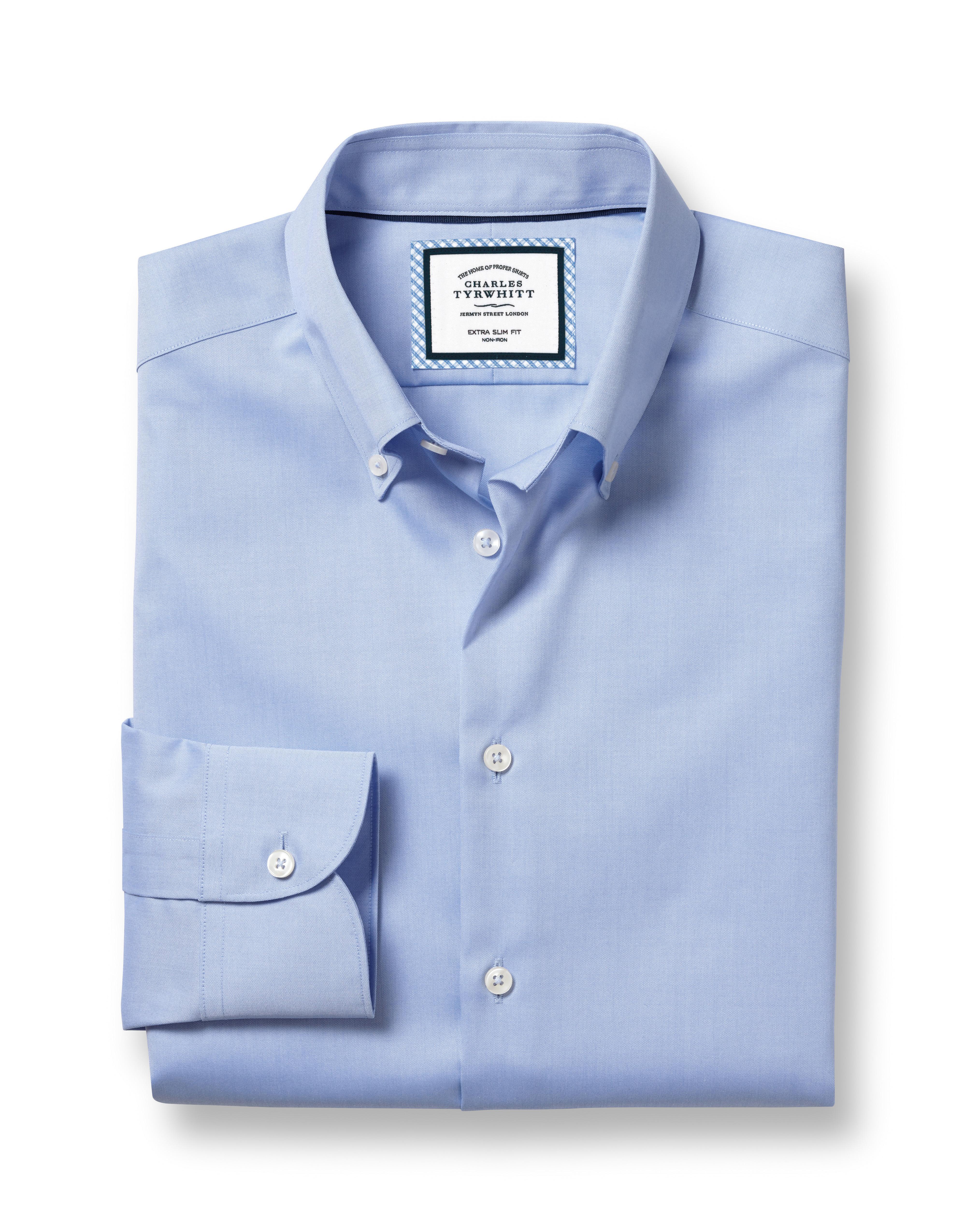 Cotton Slim Fit Button-Down Business Casual Non-Iron Sky Blue Shirt