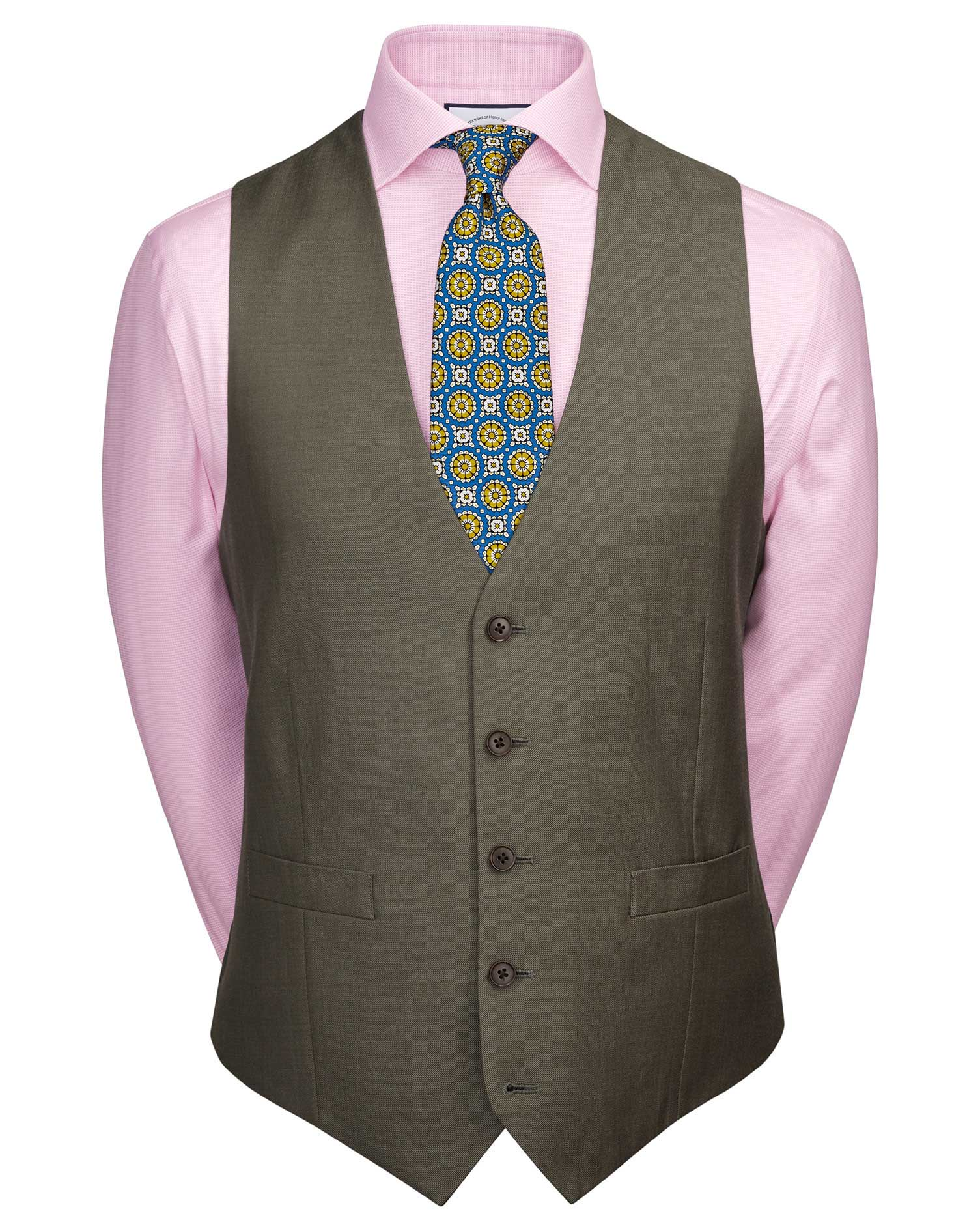 Olive Adjustable Fit Twill Business Suit Wool Waistcoat Size w40 by Charles Tyrwhitt
