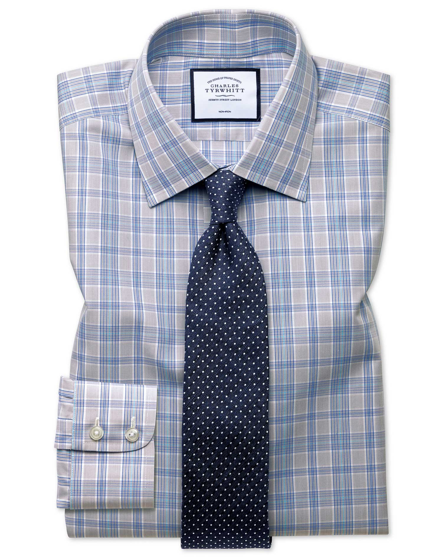 Slim Fit Non-Iron Prince Of Wales Grey and Aqua Cotton Formal Shirt Double Cuff Size 15.5/33 by Char
