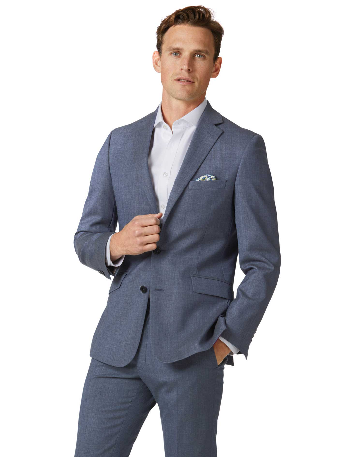 Image of Charles Tyrwhitt Airforce Blue Extra Slim Fit Merino Business Suit Wool Jacket Size 38 Short by Charles Tyrwhitt
