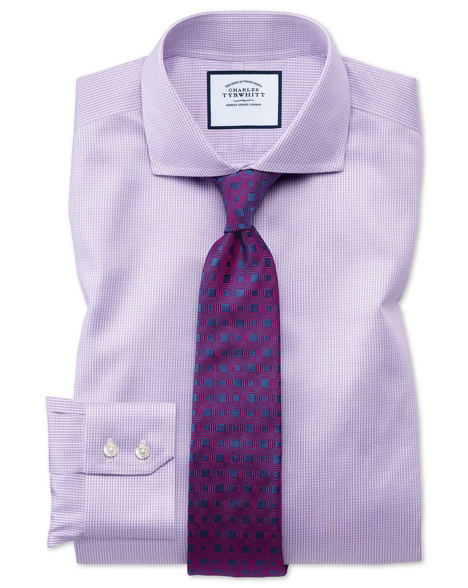 Extra Slim Fit Cutaway Non-Iron Puppytooth Lilac Cotton Formal Shirt Double Cuff Size 16.5/36 by Cha