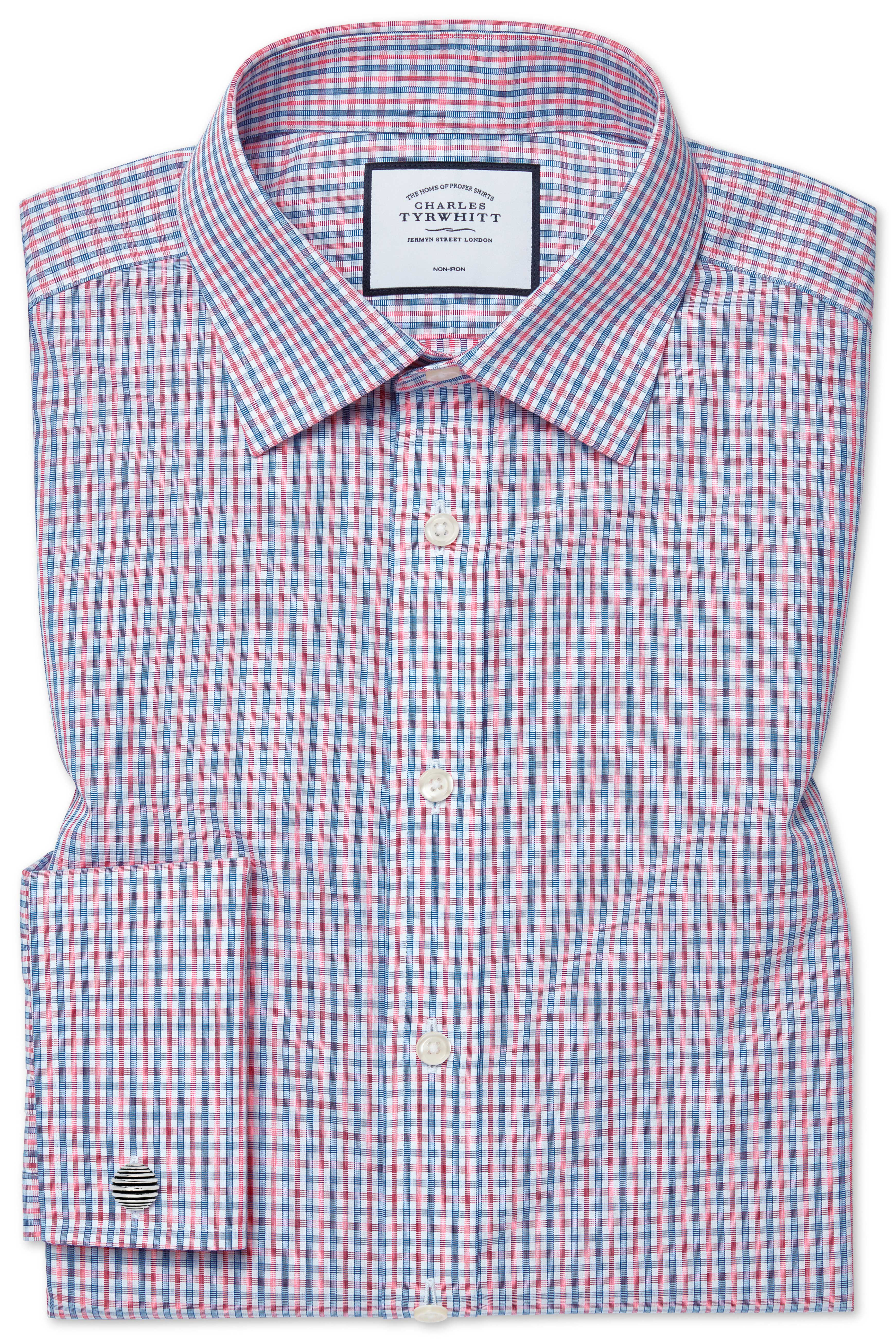 Extra Slim Fit Cutaway Non-Iron Poplin Blue and Red Cotton Formal Shirt Single Cuff Size 17/36 by Ch