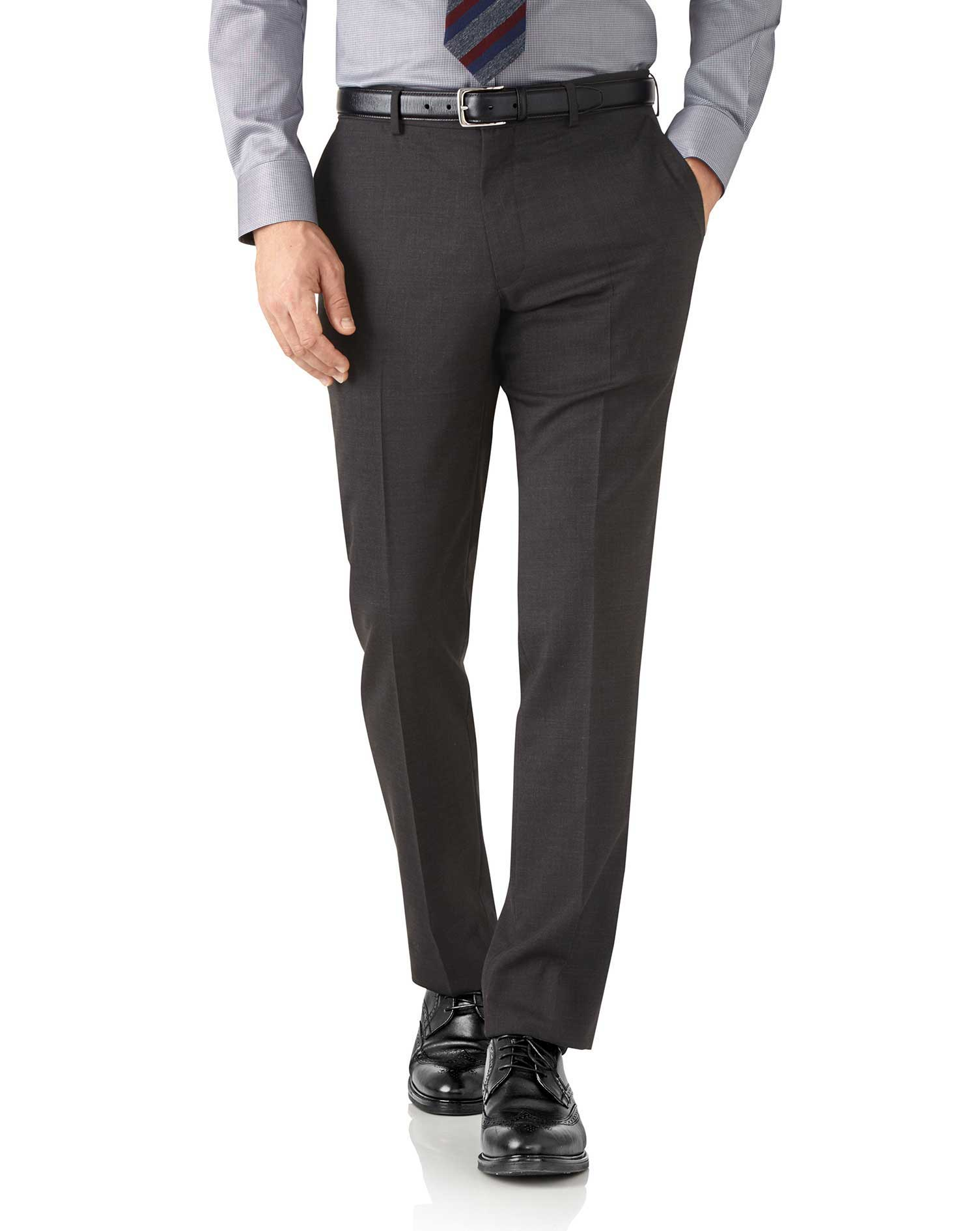 Charcoal Slim Fit Performance Suit Trousers Size W36 L32 by Charles Tyrwhitt