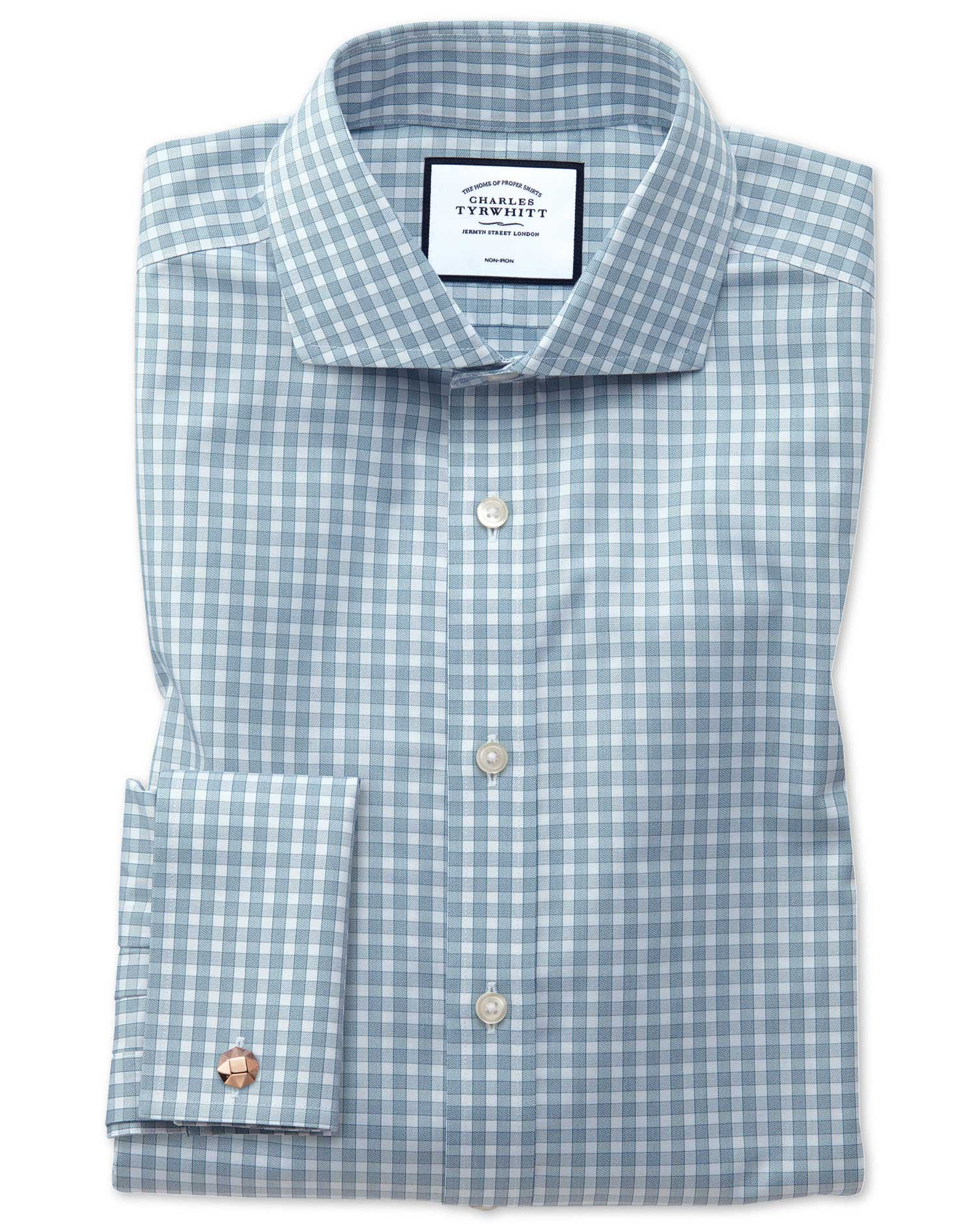 Extra Slim Fit Non-Iron Twill Gingham Teal Cotton Formal Shirt Single Cuff Size 14.5/32 by Charles T