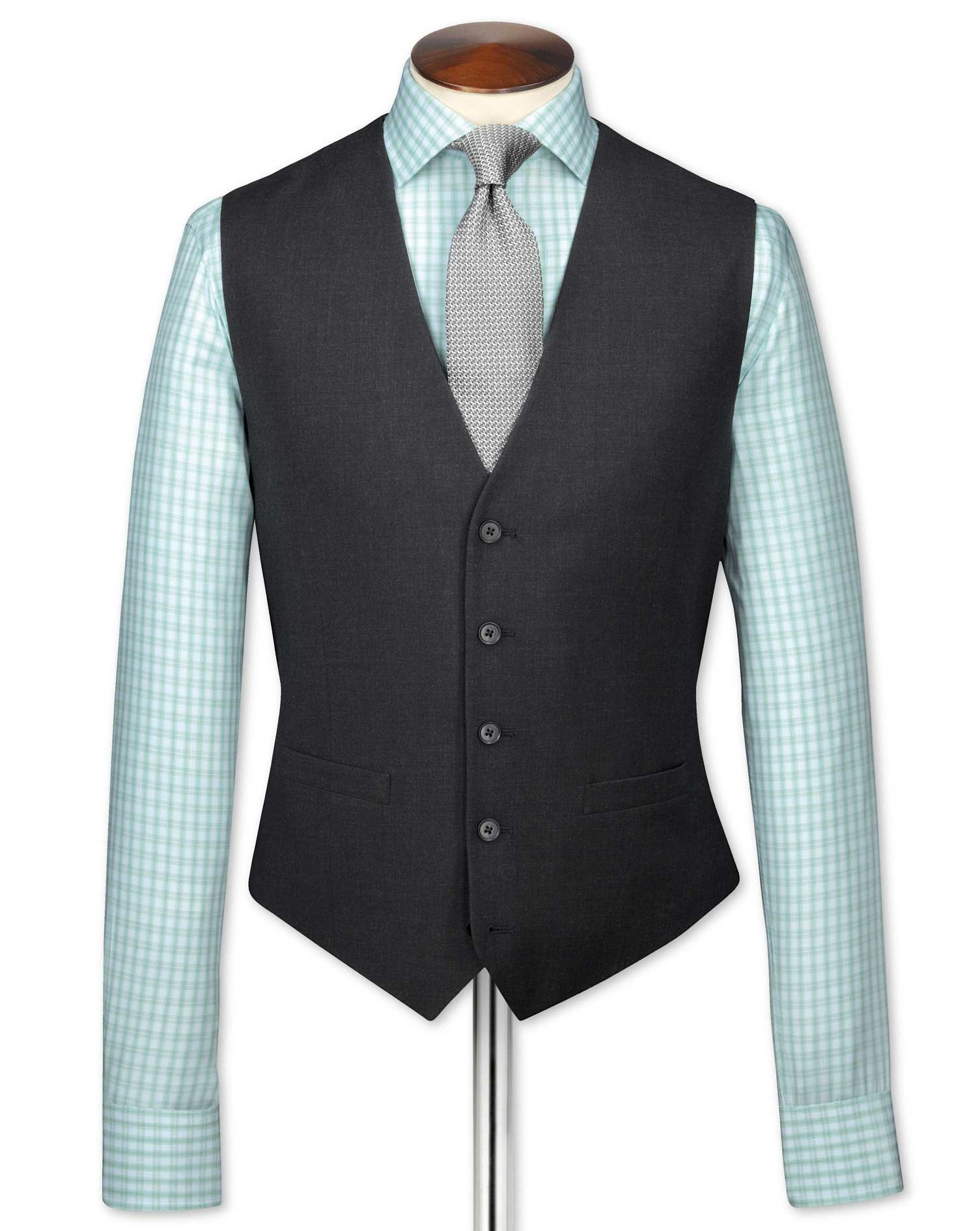 Charcoal Adjustable Fit Twill Business Suit Wool Waistcoat Size w42 by Charles Tyrwhitt
