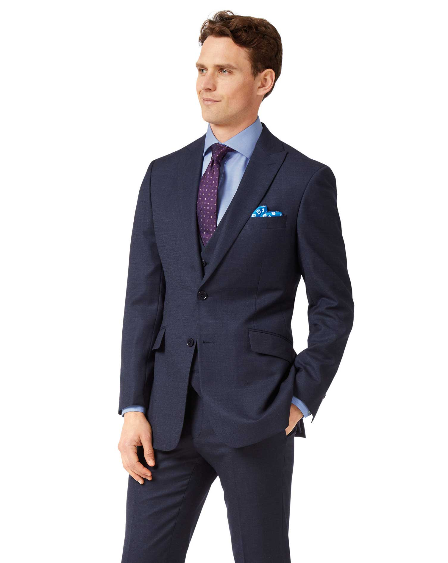 Navy Slim Fit Jaspe Business Suit Wool Jacket Size 44 Long by Charles Tyrwhitt