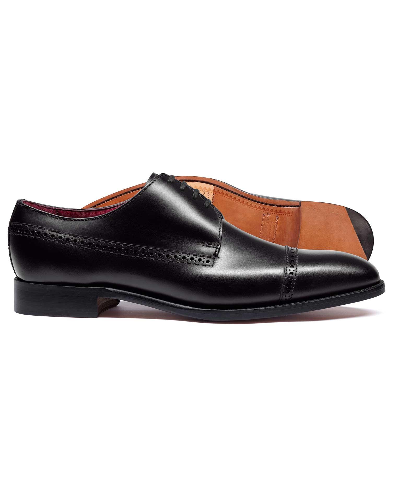 Black Made In England Derby Brogue Toe Cap Flex Sole Shoe Size 6.5 W by Charles Tyrwhitt