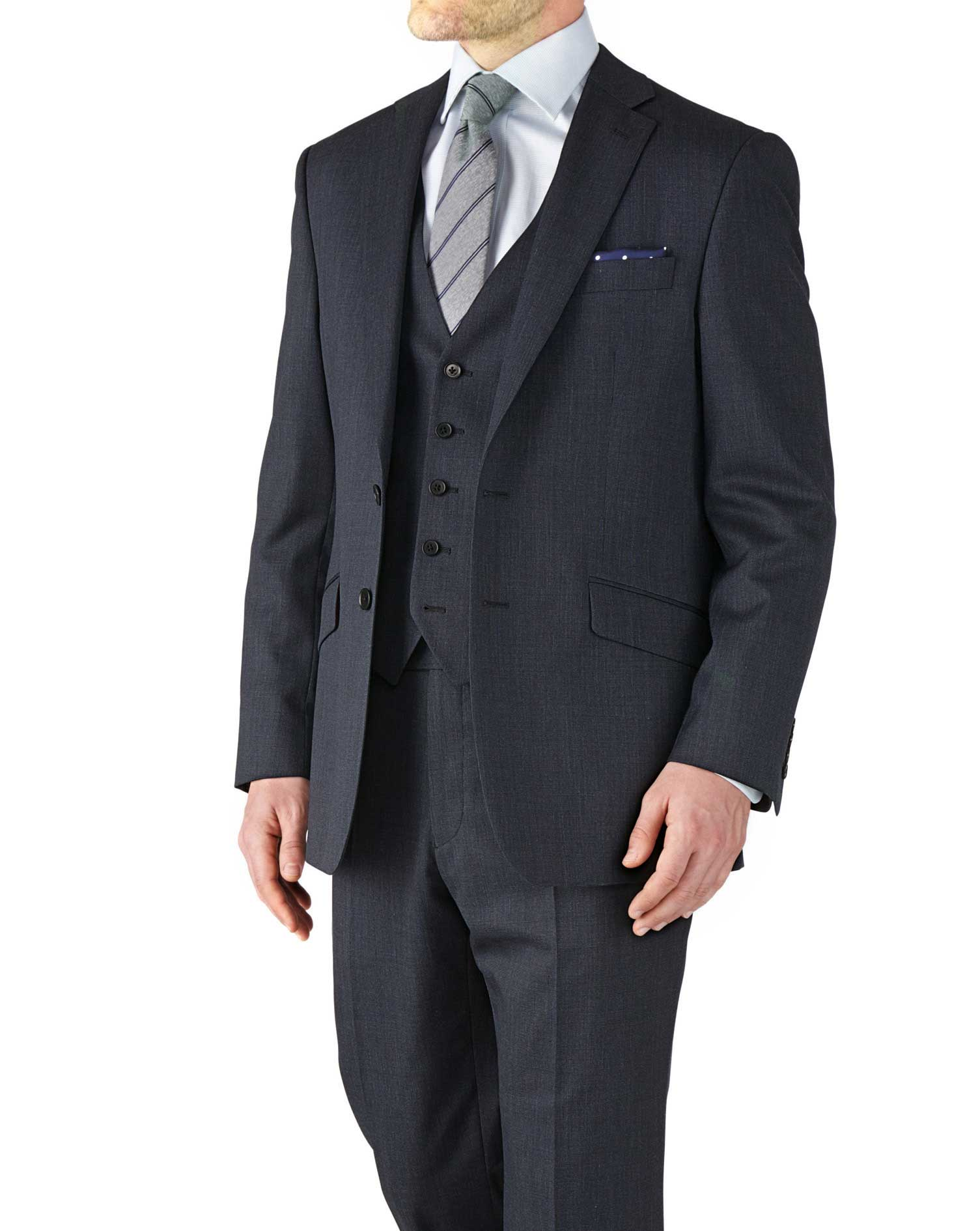 Navy Classic Fit End-On-End Business Suit Wool Jacket Size 36 Regular by Charles Tyrwhitt