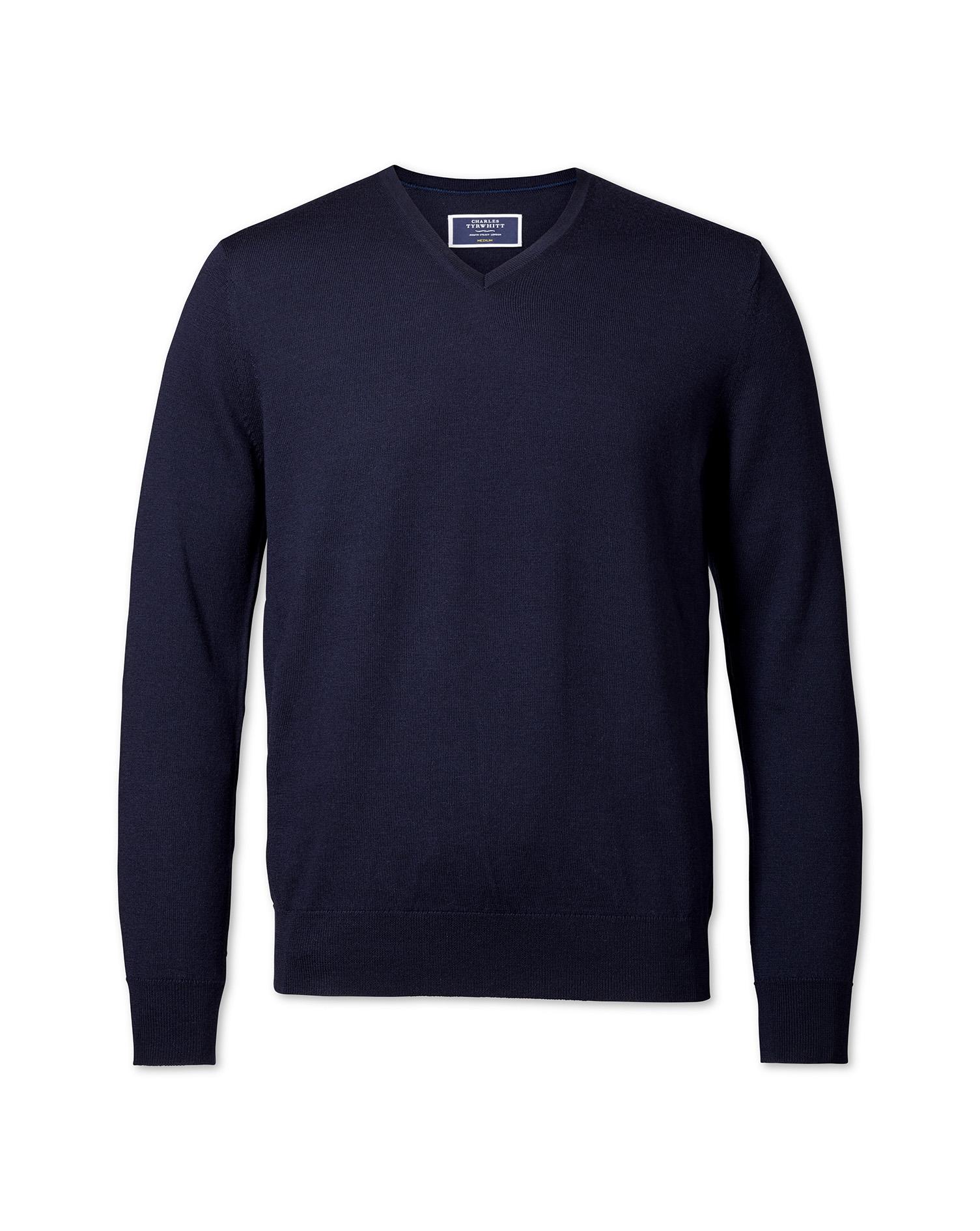 Navy Merino Wool V-Neck Jumper Size Large by Charles Tyrwhitt