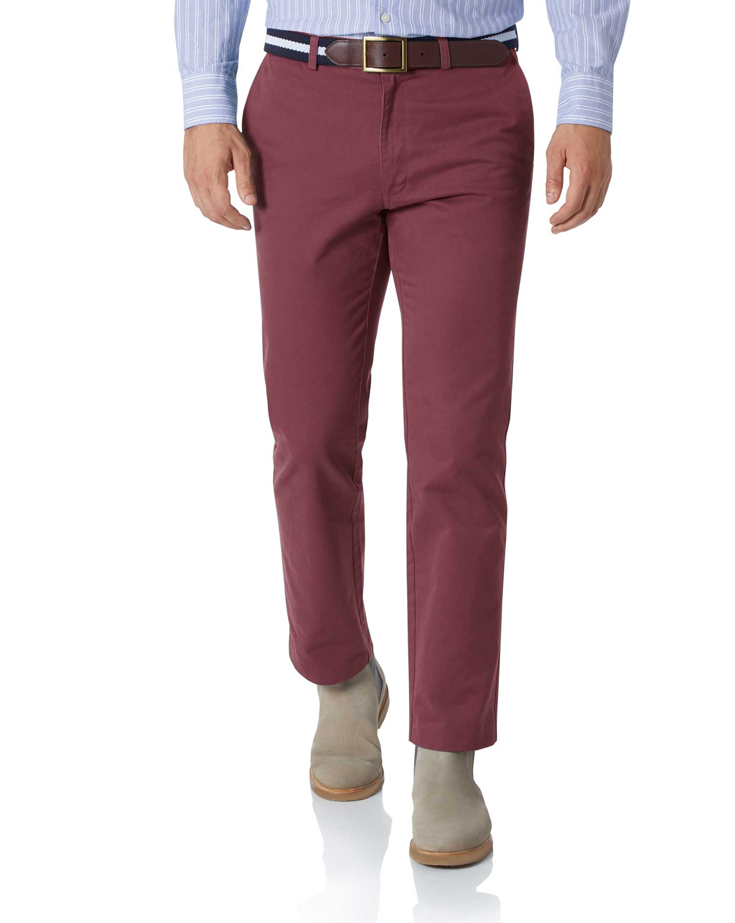 Dark Pink Slim Fit Flat Front Washed Cotton Chino Trousers Size W32 L38 by Charles Tyrwhitt