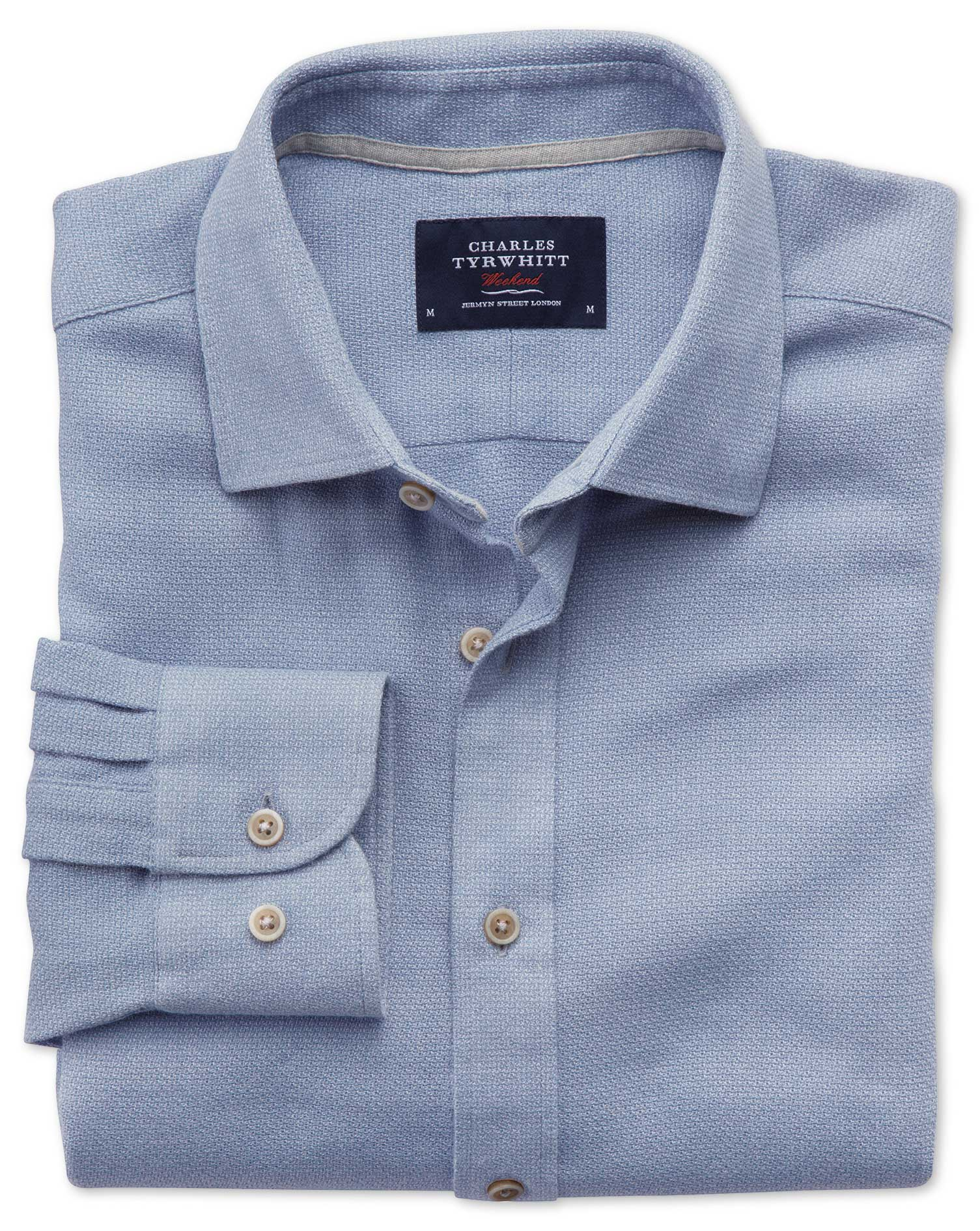 Extra Slim Fit Mouline Mid Blue Textured Shirt Charles
