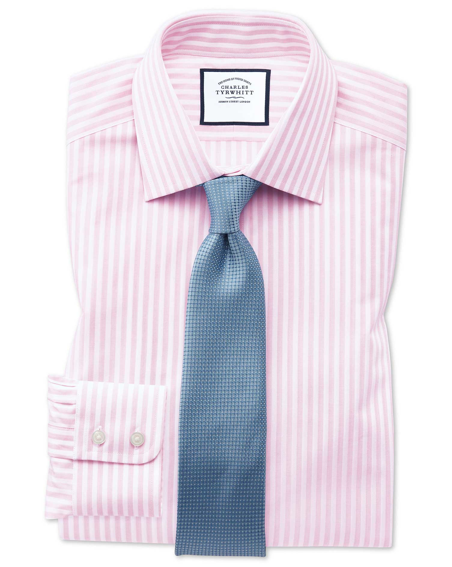 Classic Fit Pink and White Dobby Textured Stripe Cotton Formal Shirt Single Cuff Size 16/35 by Charl