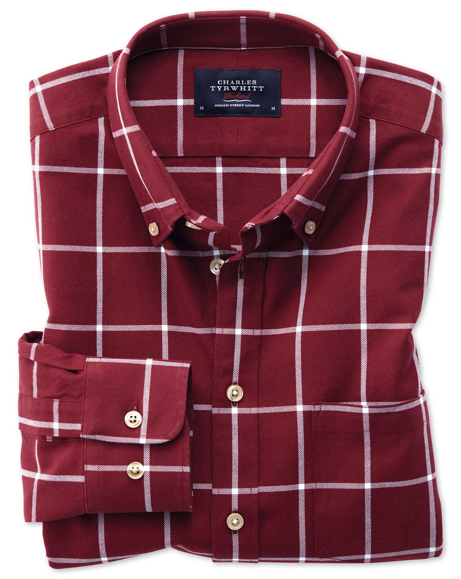 Slim Fit Button-Down Washed Oxford Burgundy and White Check Cotton Shirt Single Cuff Size Medium by