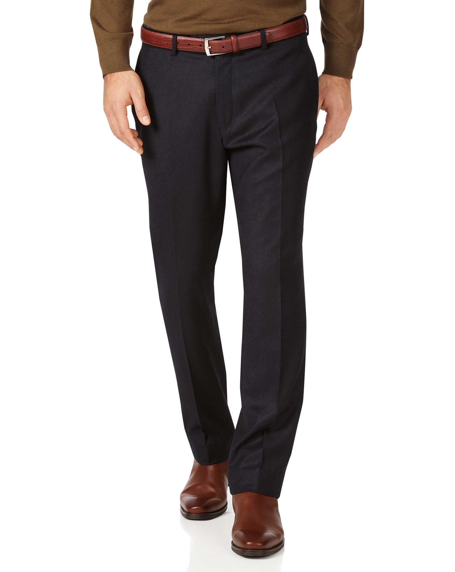 Dark Navy Slim Fit Italian Wool Flannel Trousers Size W36 L30 by Charles Tyrwhitt