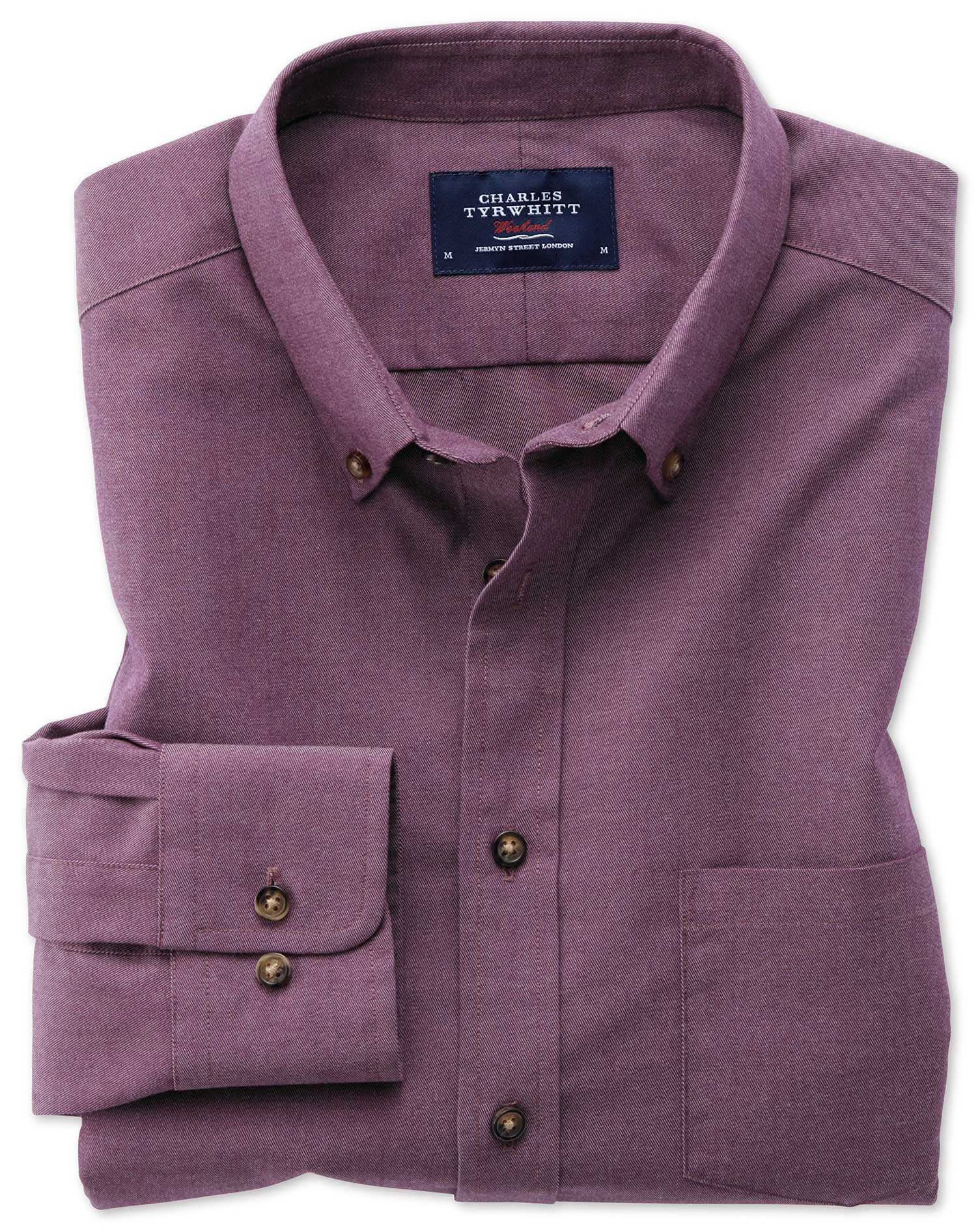 Slim Fit Button-Down Non-Iron Twill Purple Cotton Shirt Single Cuff Size Large by Charles Tyrwhitt