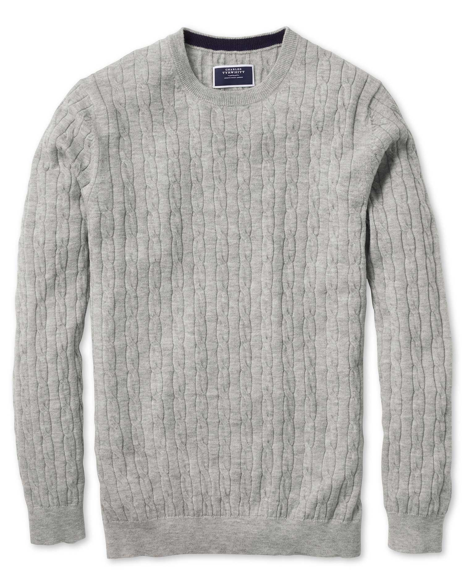 Light Grey Crew Neck Lambswool Cable Knit Jumper Size Medium by Charles Tyrwhitt
