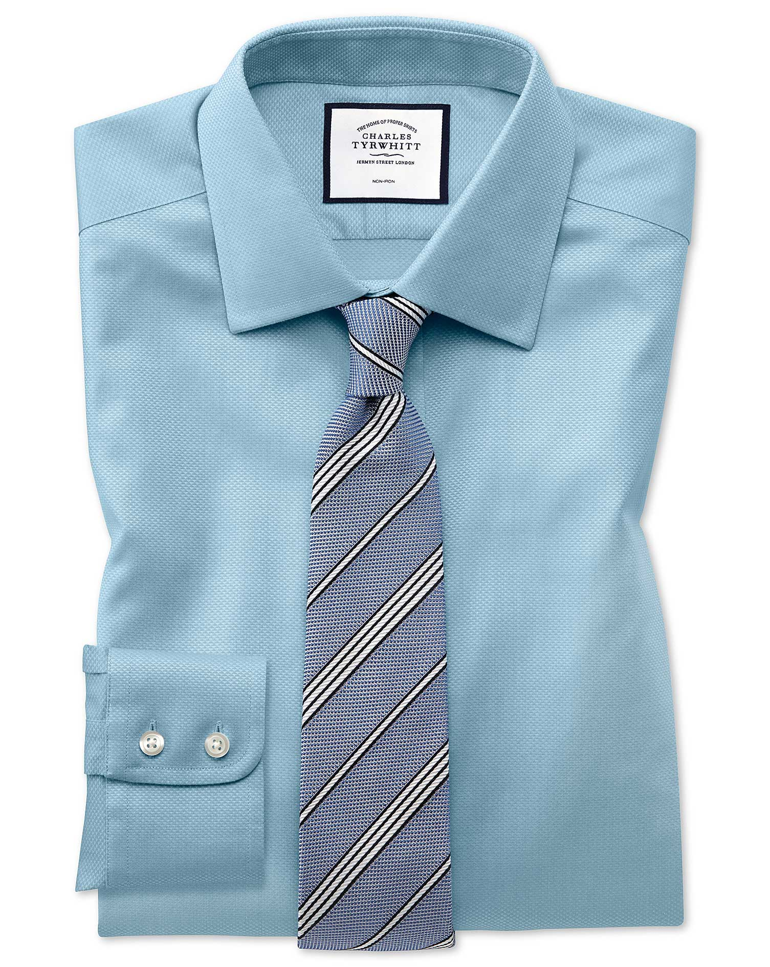 Classic Fit Non-Iron Teal Triangle Weave Cotton Formal Shirt Double Cuff Size 16.5/35 by Charles Tyr