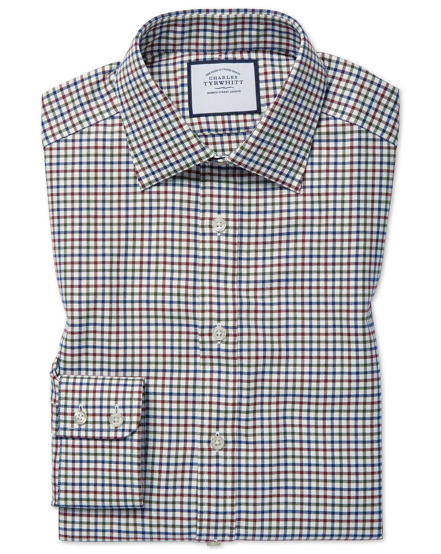 Cotton Slim Fit Country Check Navy And Berry Shirt