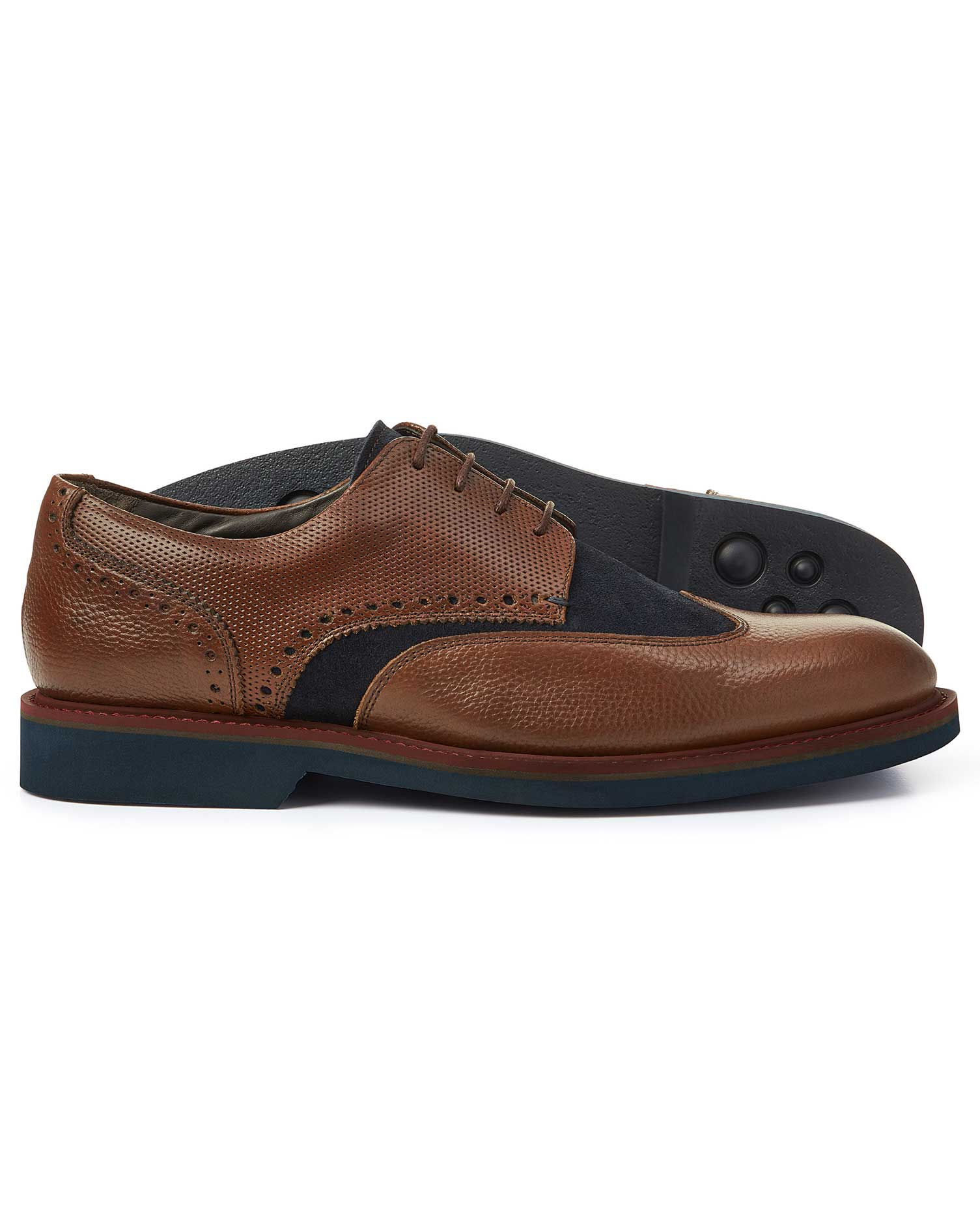 Leather Tan And Navy Extra Lightweight Derby Wing Tip Shoes