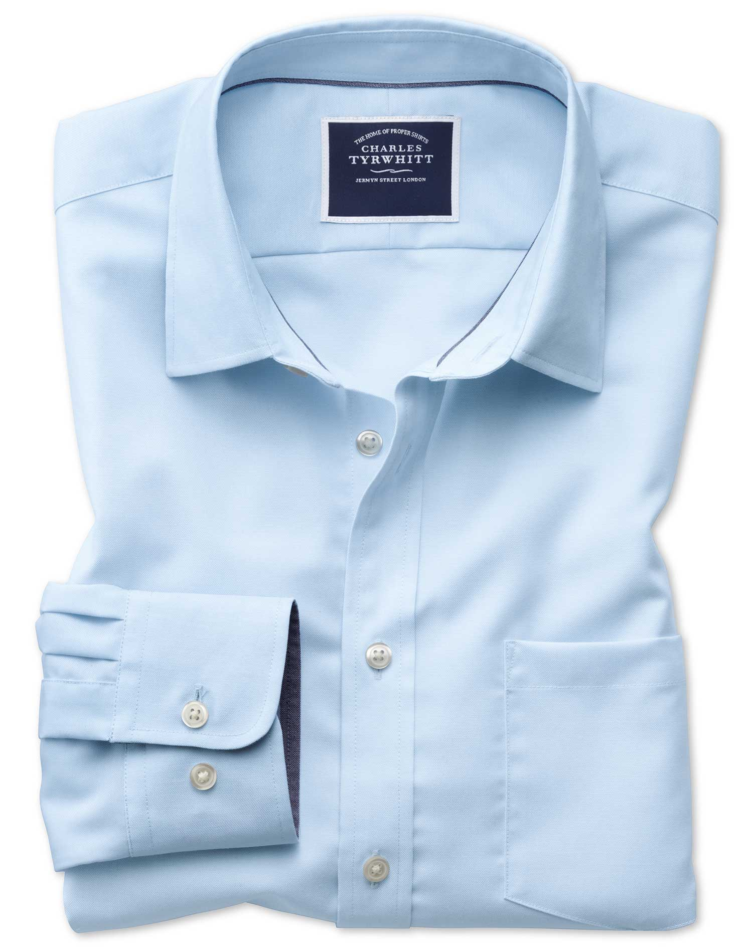 Slim Fit Non-Iron Oxford Light Blue Plain Cotton Shirt Single Cuff Size Large by Charles Tyrwhitt