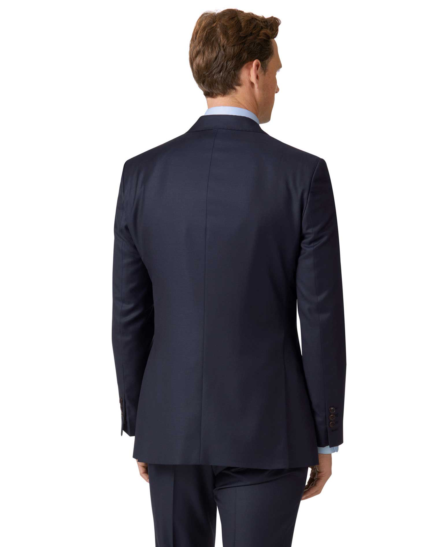 Navy slim fit Italian twill luxury suit jacket