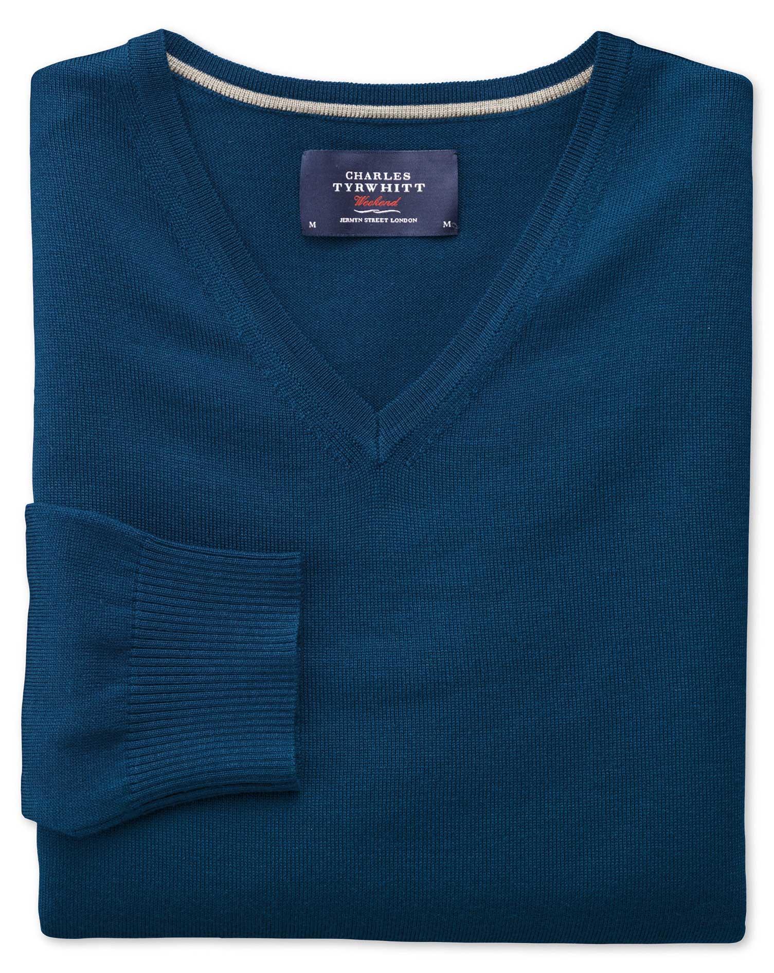Blue Merino Wool V-Neck Jumper Size Large by Charles Tyrwhitt