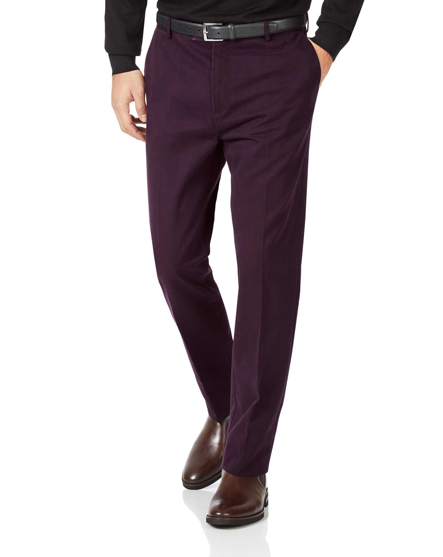 Aubergine Slim Fit Flat Front Non-Iron Cotton Chino Trousers Size W32 L38 by Charles Tyrwhitt