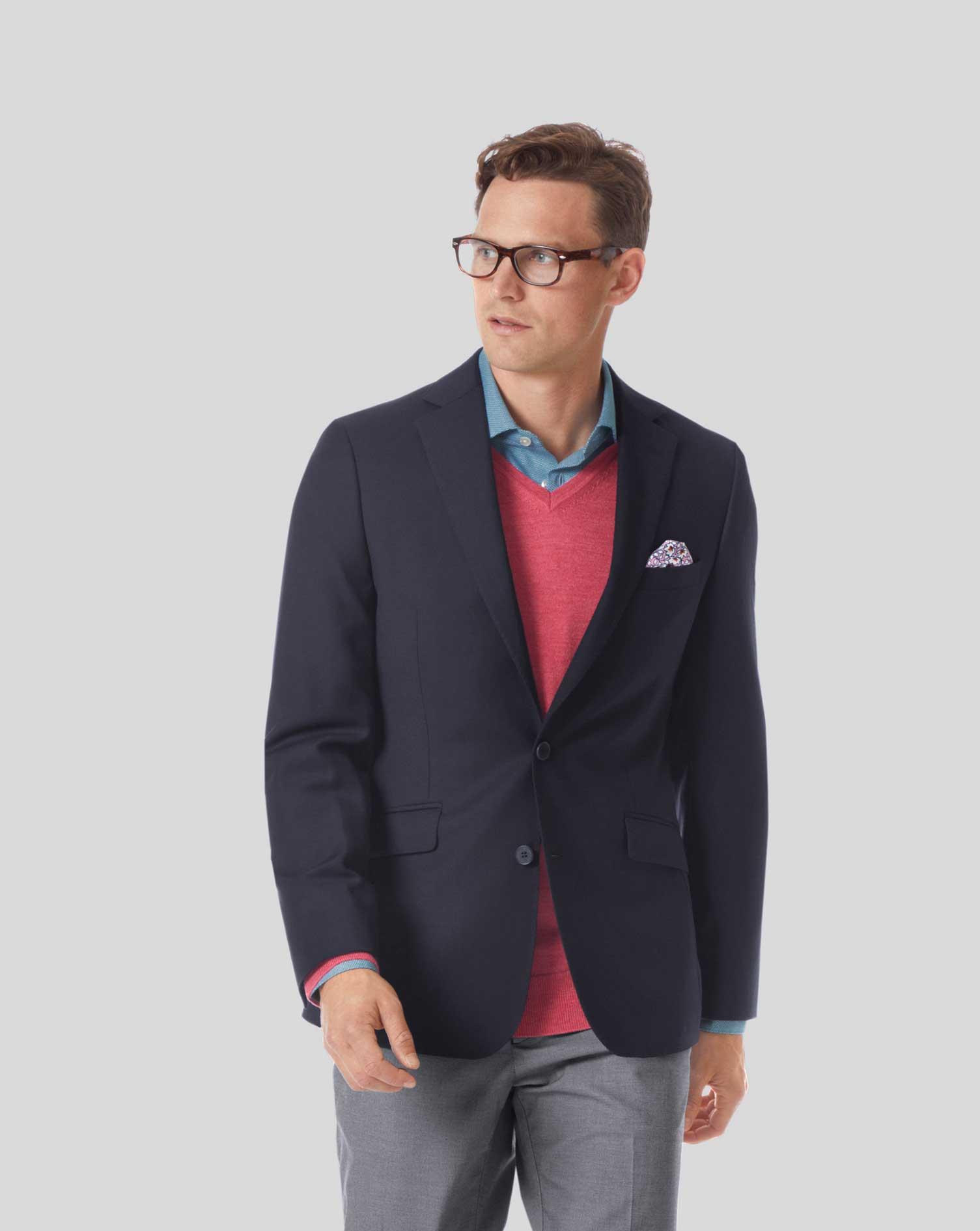 Extra Slim Fit Navy City Wool Blazer Size 42 Regular by Charles Tyrwhitt