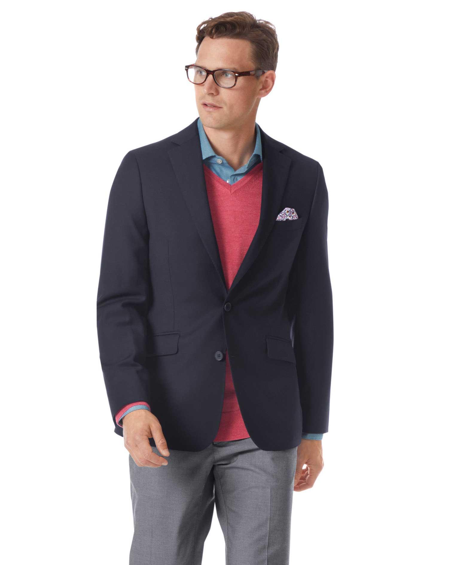 Extra Slim Fit Navy Wool Blazer Size 42 Long by Charles Tyrwhitt