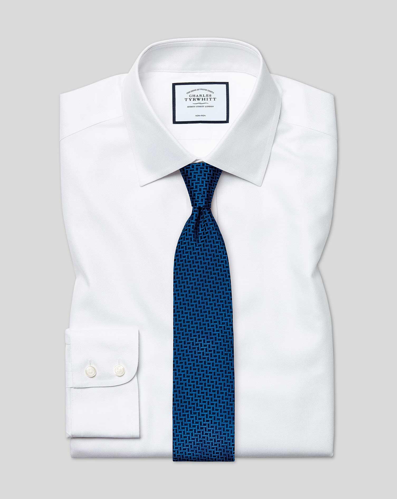 Cotton Classic Fit Non-Iron Buckingham Weave White Shirt