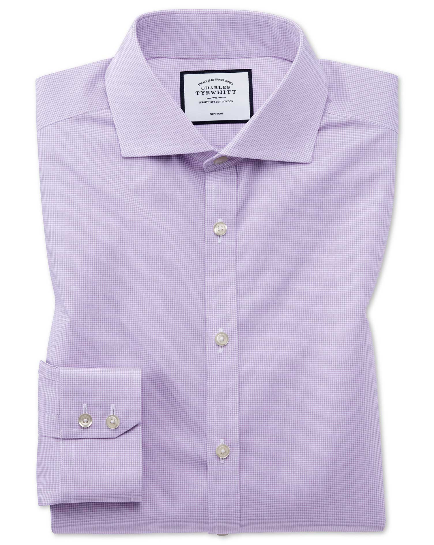 Extra Slim Fit Non-Iron 4-Way Stretch Lilac Check Cotton Formal Shirt Single Cuff Size 16/32 by Char
